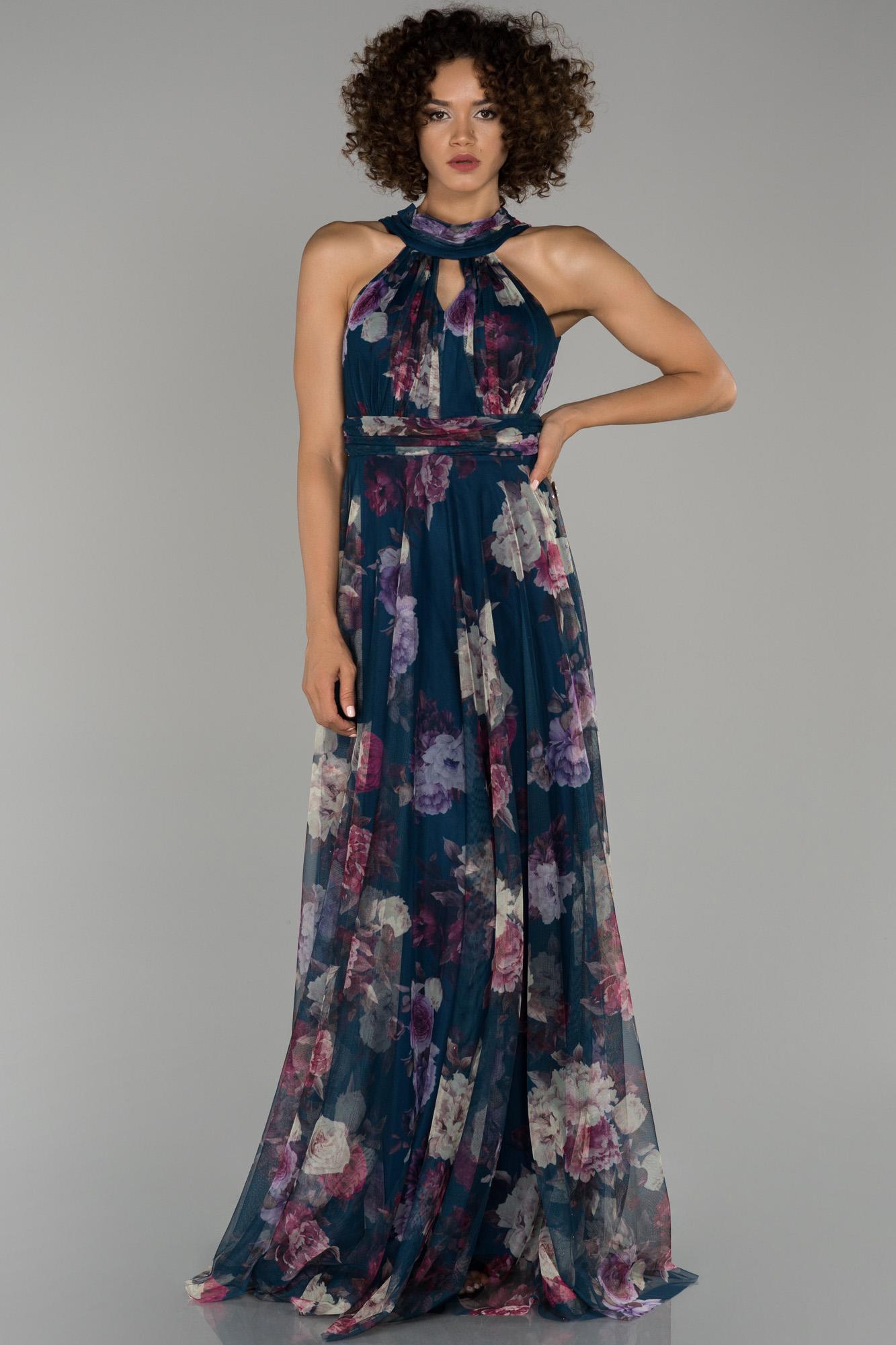 Mavi Uzun Çiçekli Abiye Elbise
