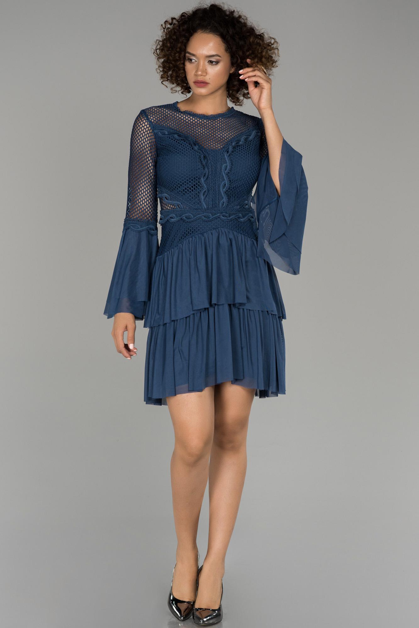 Indigo Ispanyol Kol File Detaylı Abiye Elbise