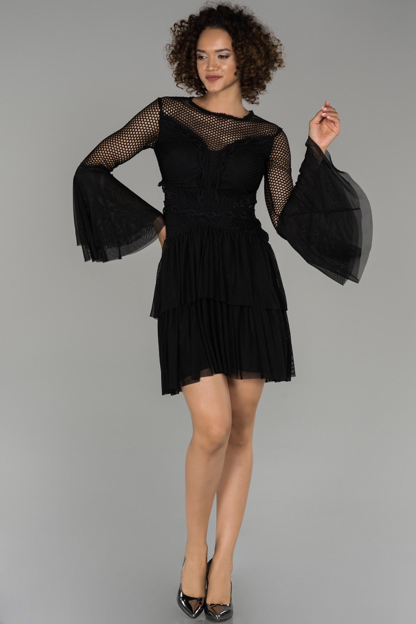 Siyah Ispanyol Kol File Detaylı Abiye Elbise