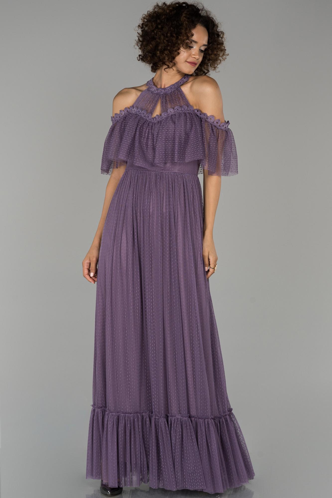 Lavanta V Yaka Güpürlü Abiye Elbise