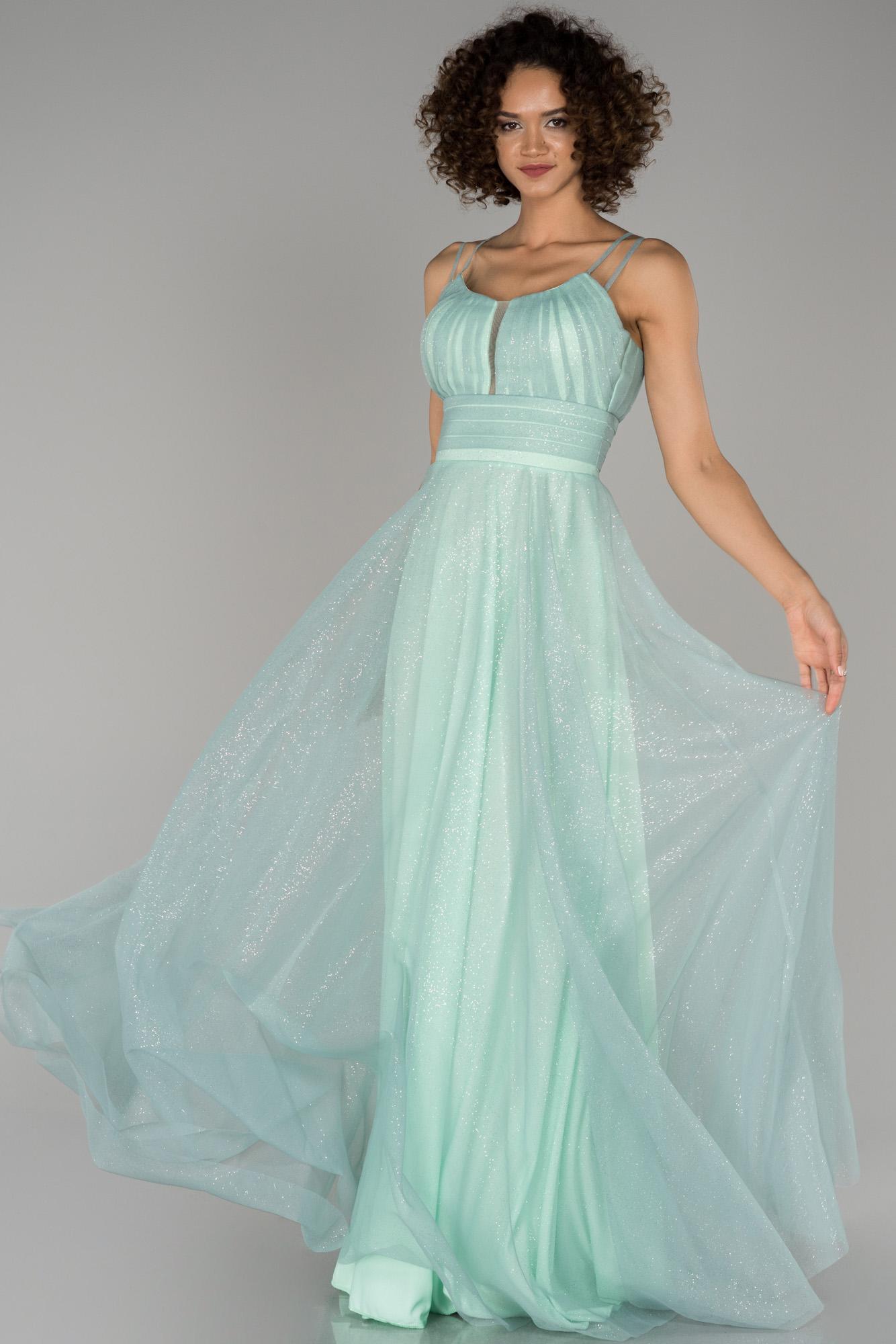 Firuze Sim Detaylı Prenses Abiye Elbise