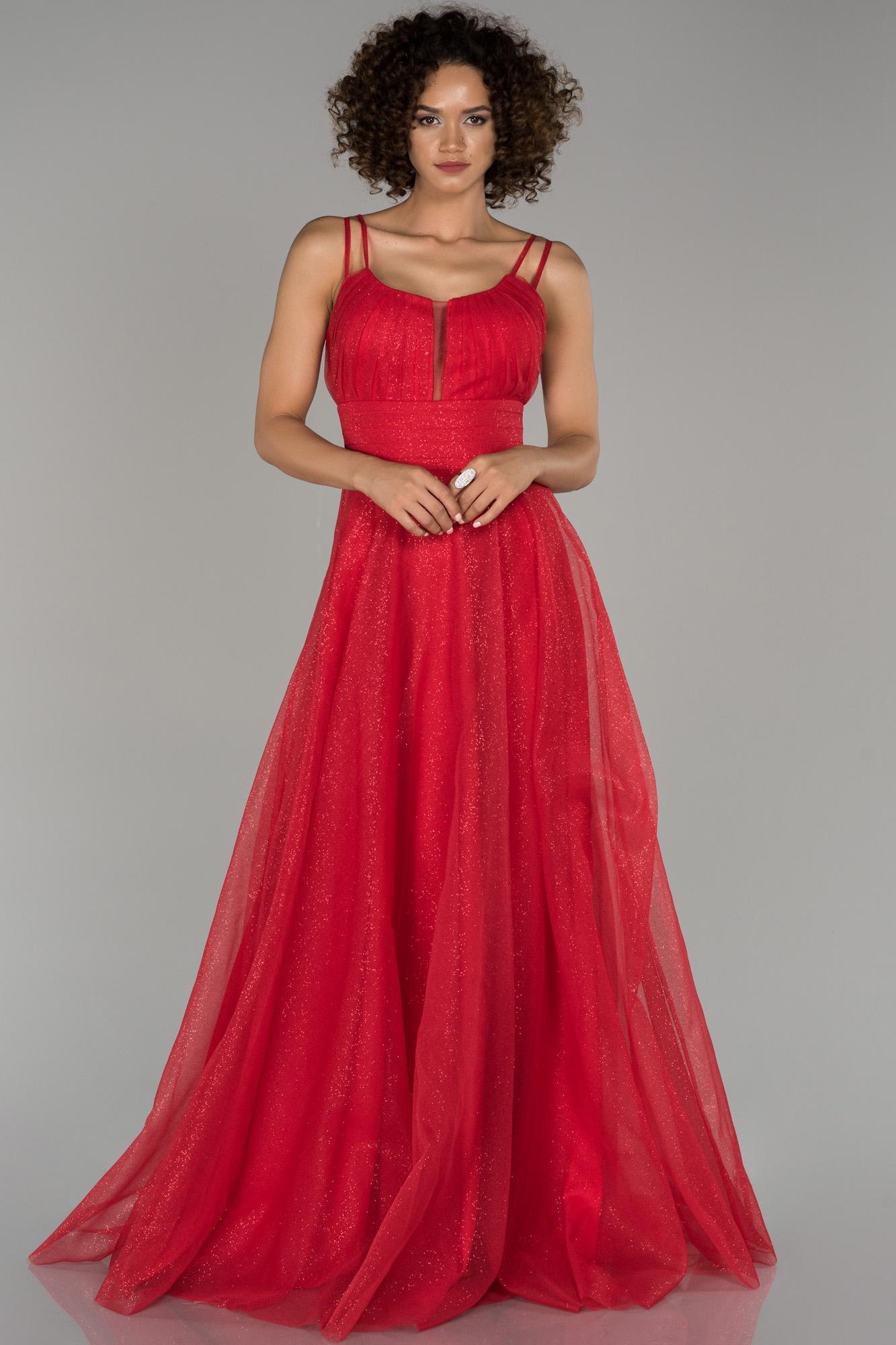 Kırmızı Sim Detaylı Prenses Abiye Elbise