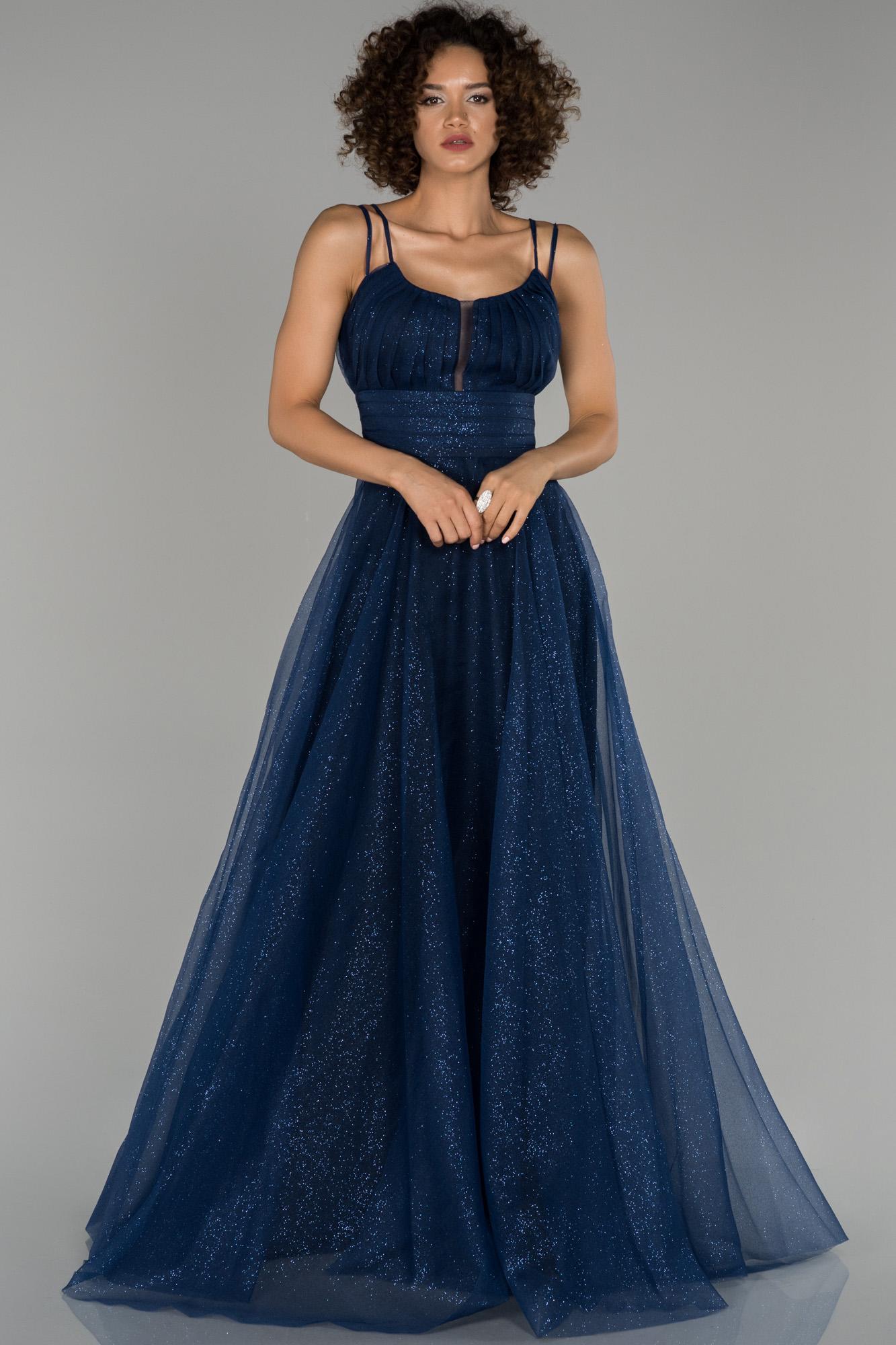 Lacivert Sim Detaylı Prenses Abiye Elbise