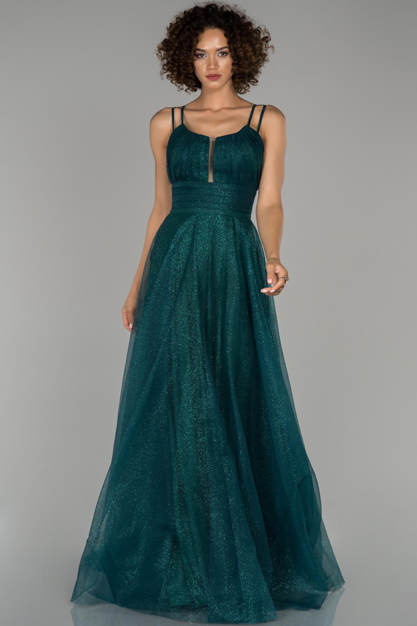 Zümrüt Yeşili Sim Detaylı Prenses Abiye Elbise