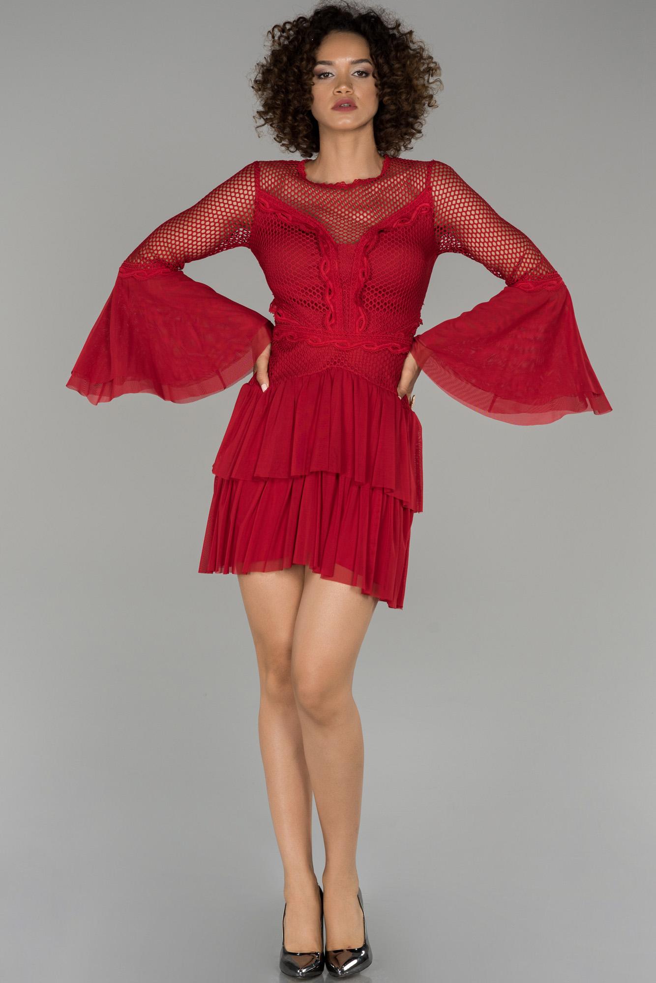 Kırmızı Ispanyol Kol File Detaylı Abiye Elbise