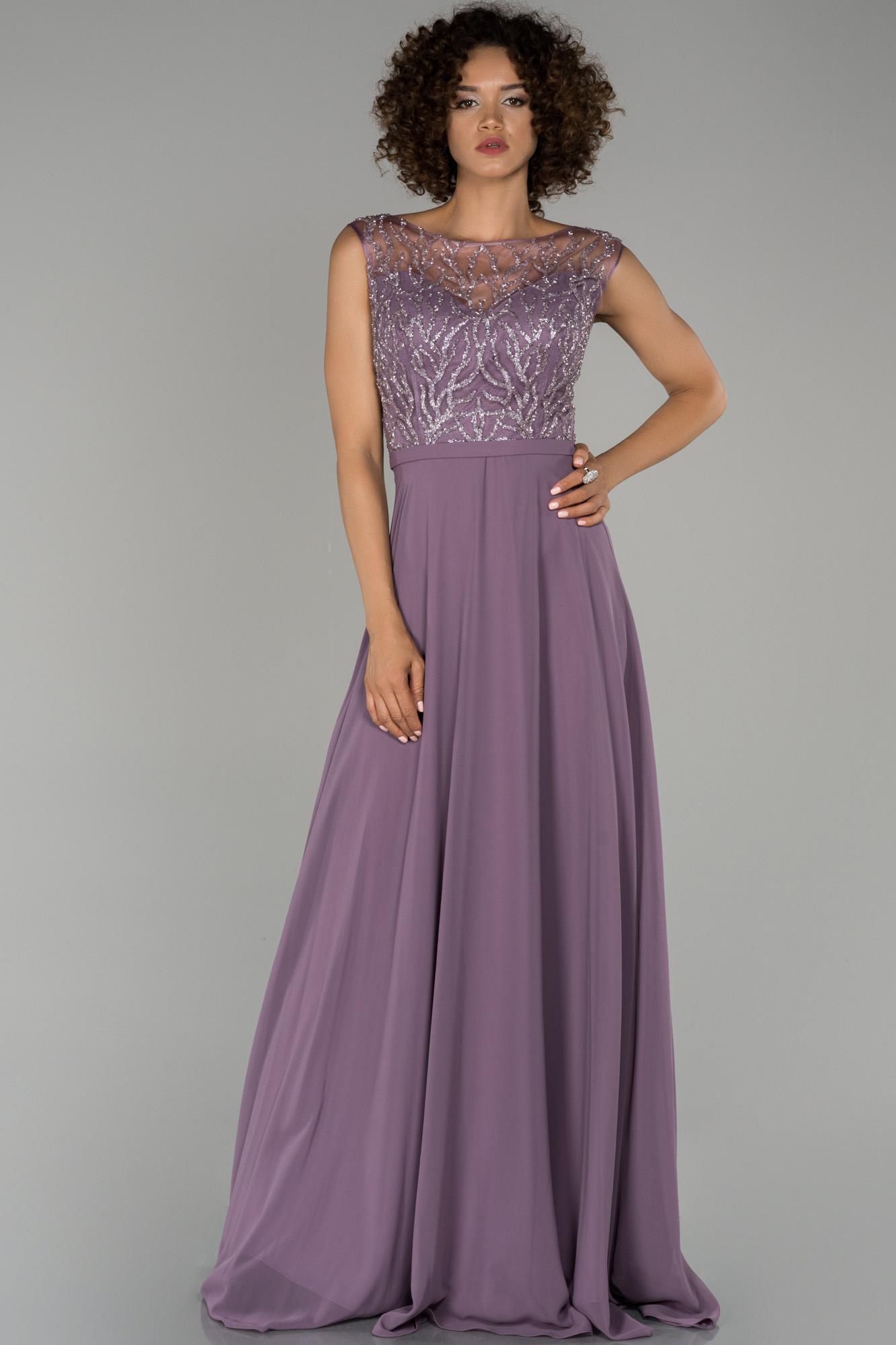 Lila Bacak Dekolteli Taş Işlemeli Şifon Abiye Elbise