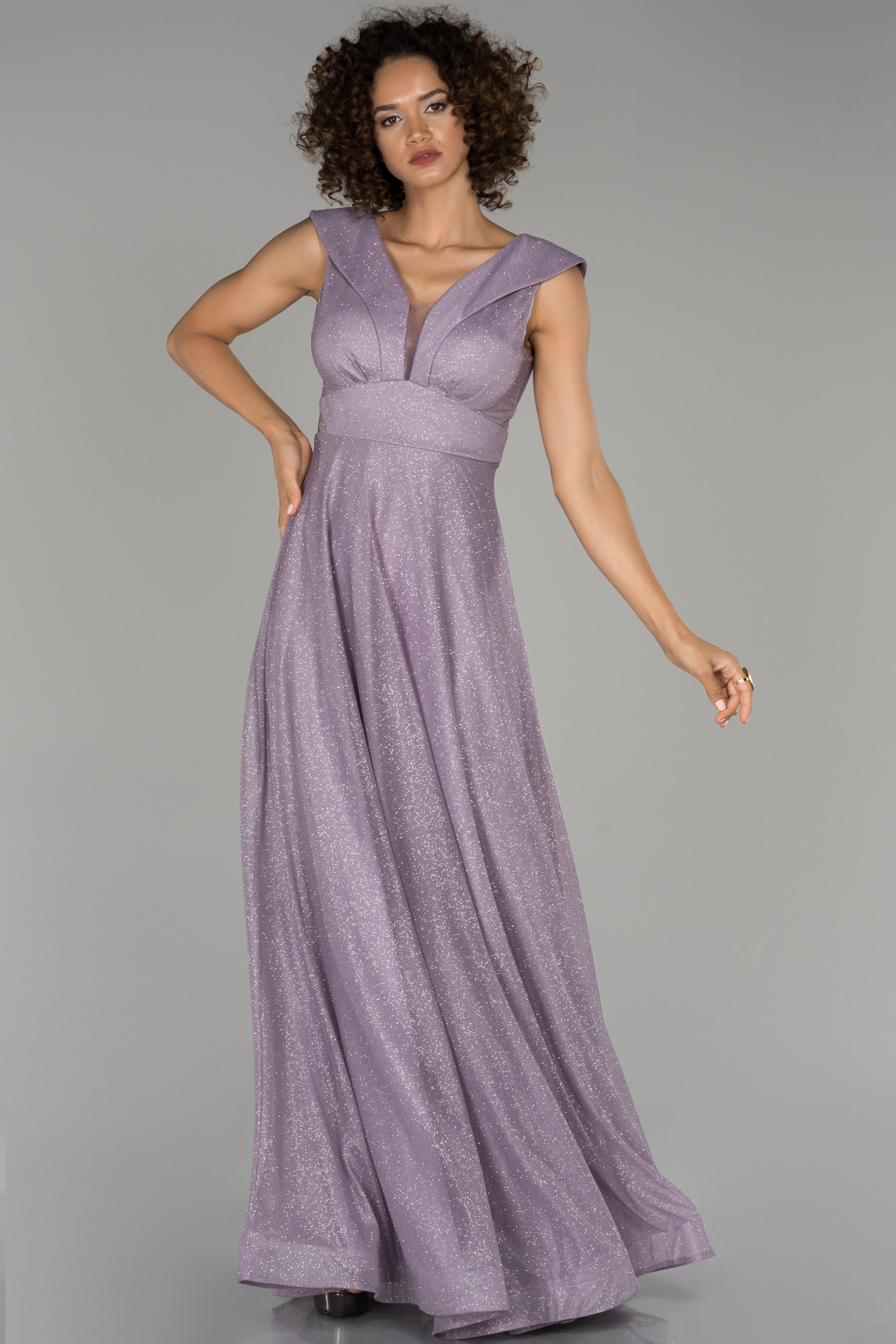 Lavanta Uzun V Yaka Simli Abiye Elbise