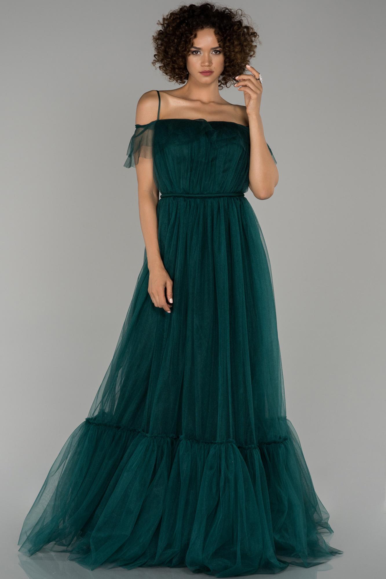 Zümrüt Yeşili Madonna Yaka Prenses Abiye Elbise