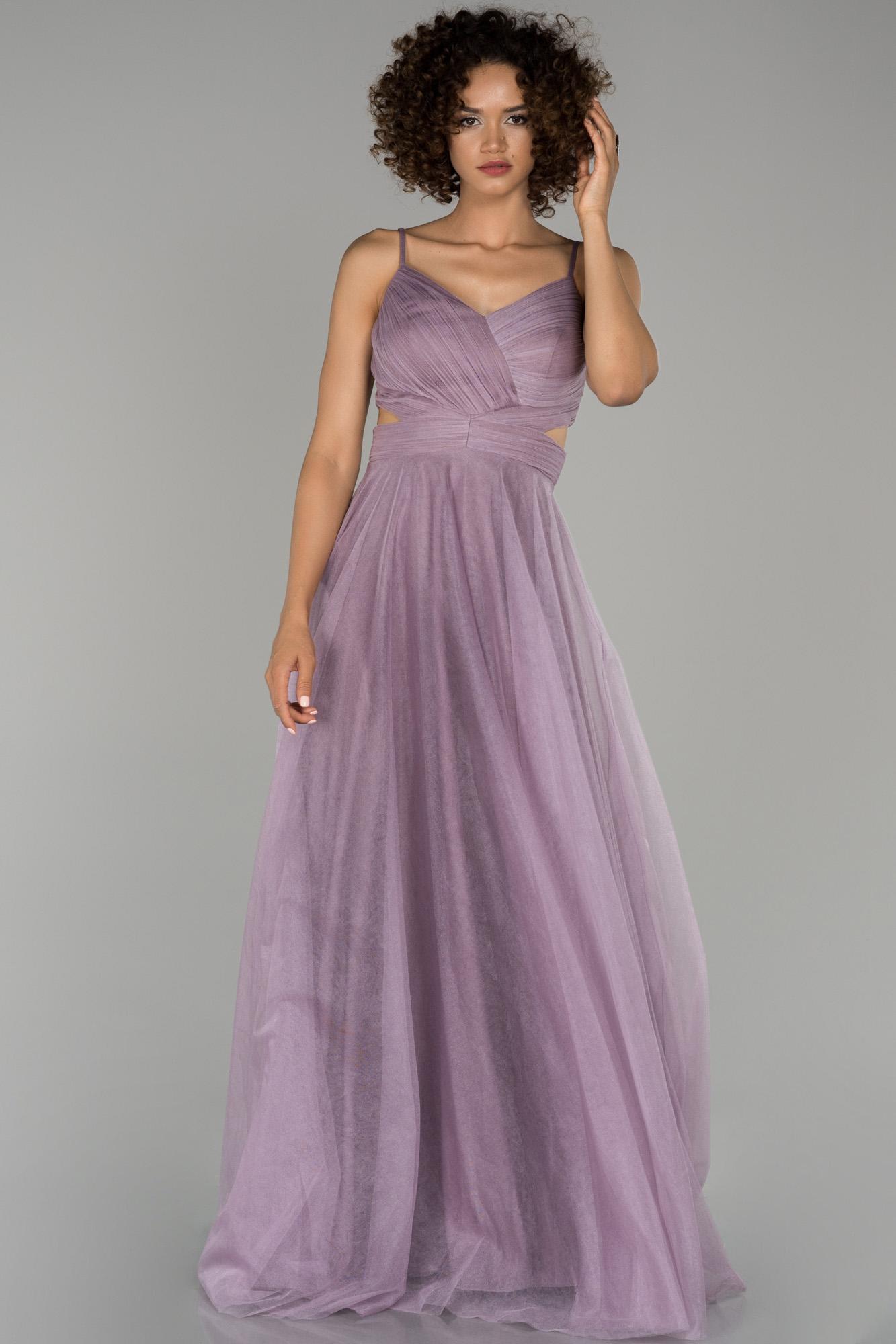 Lavanta Uzun Ip Askılı Tüllü Abiye Elbise