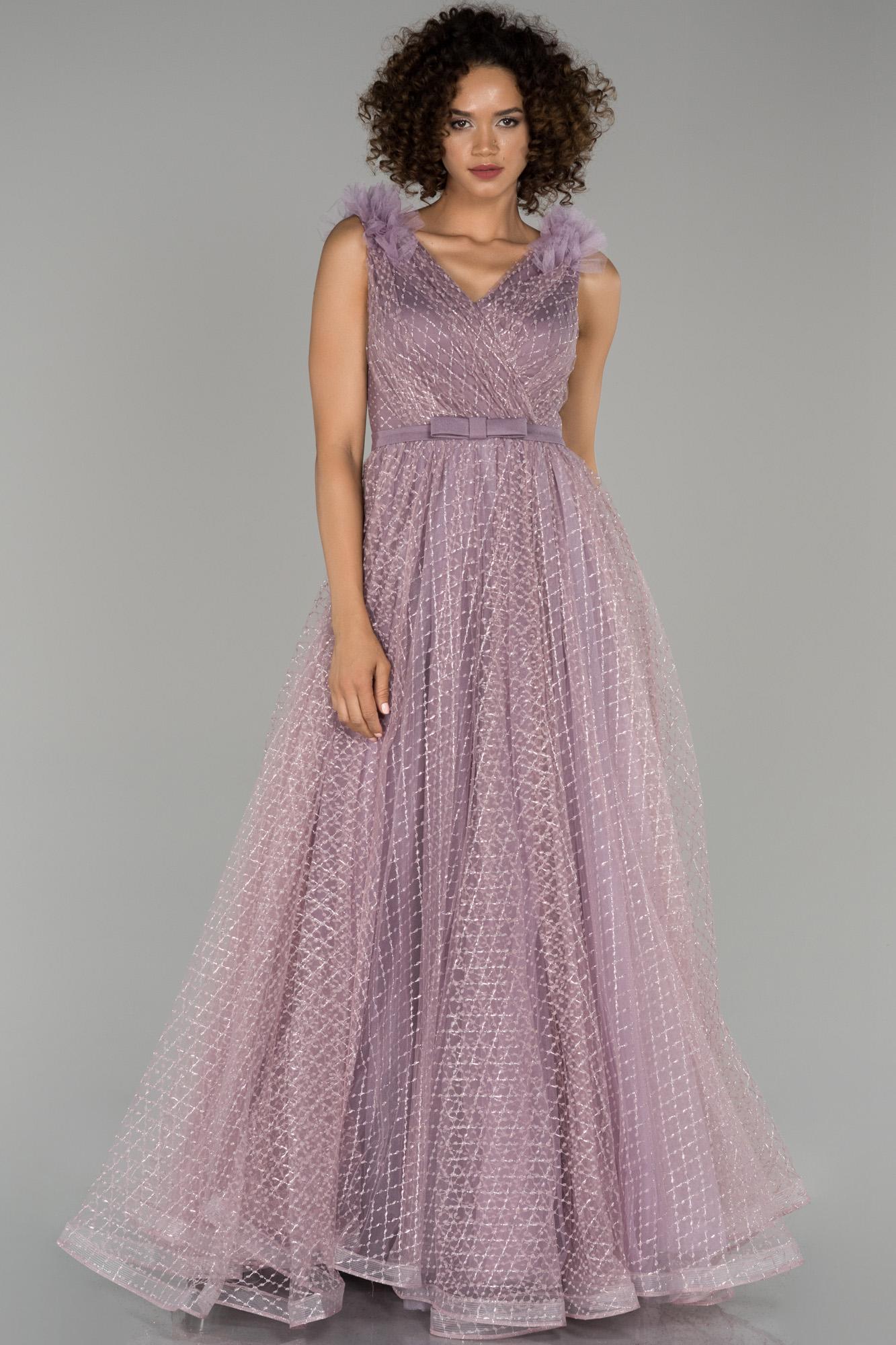 Lavanta V Yaka Sim Detaylı Prenses Abiye Elbise