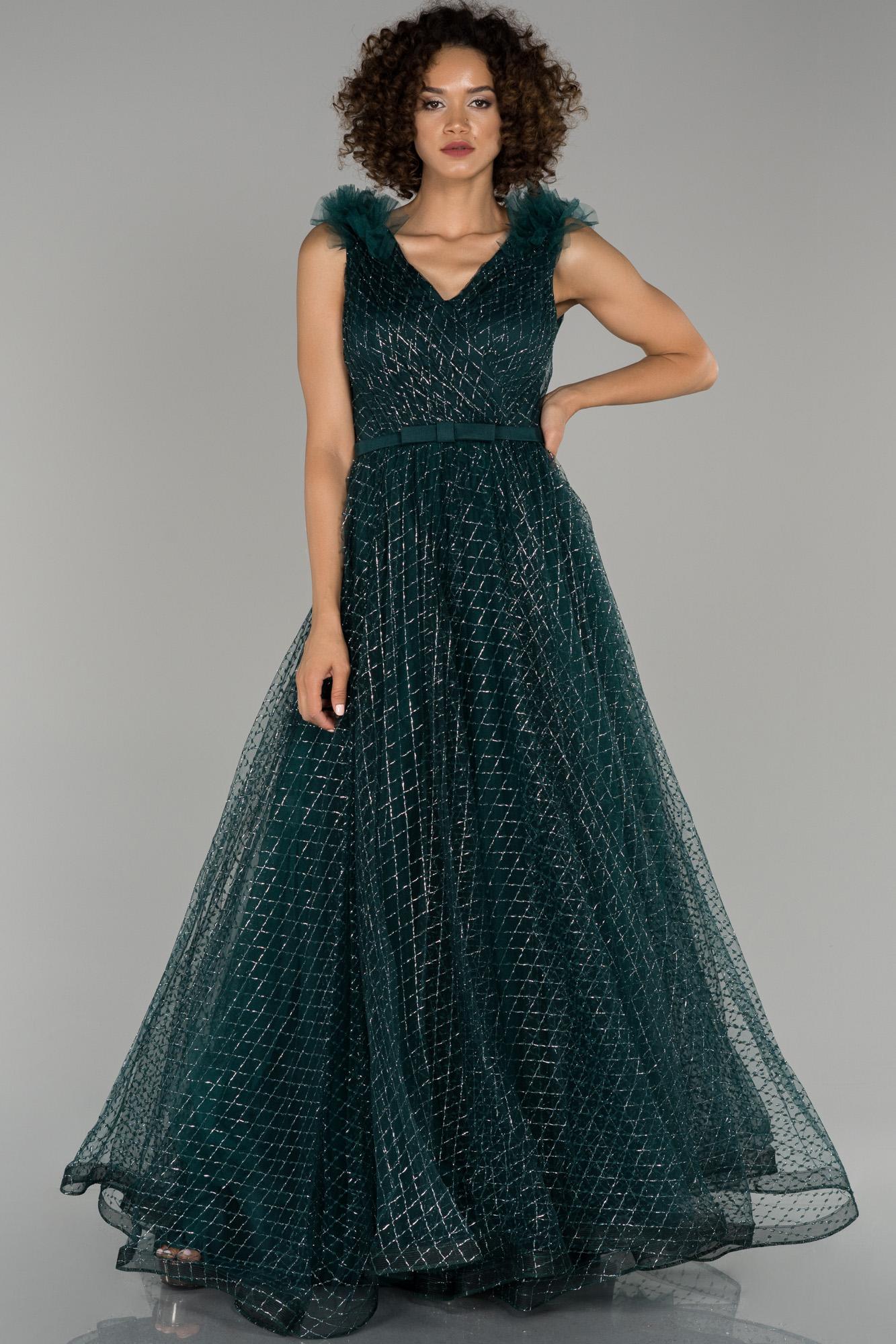 Zümrüt Yeşili V Yaka Sim Detaylı Prenses Abiye Elbise