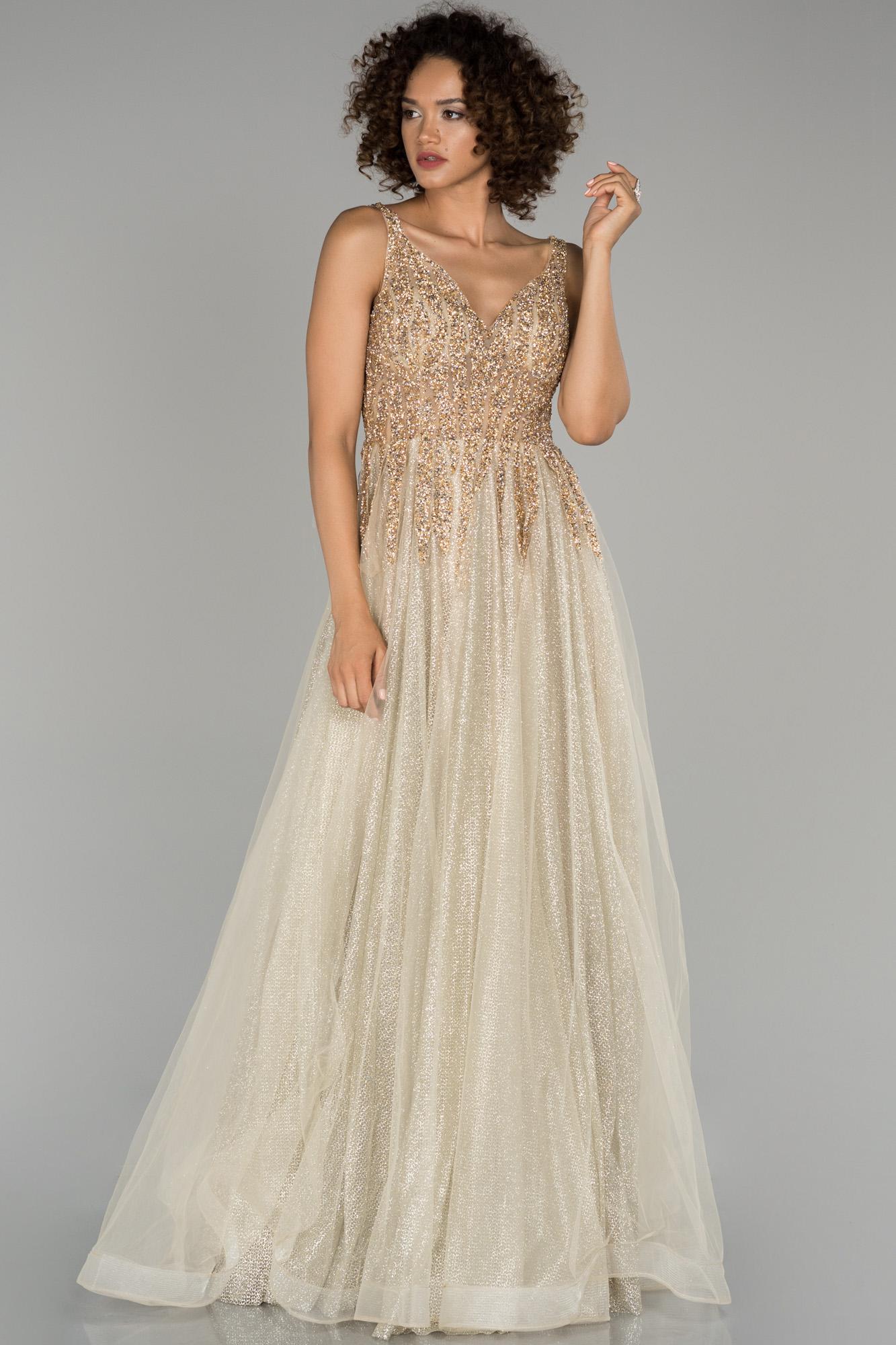Gold Kristal Taş Işlemeli Nişan Elbisesi