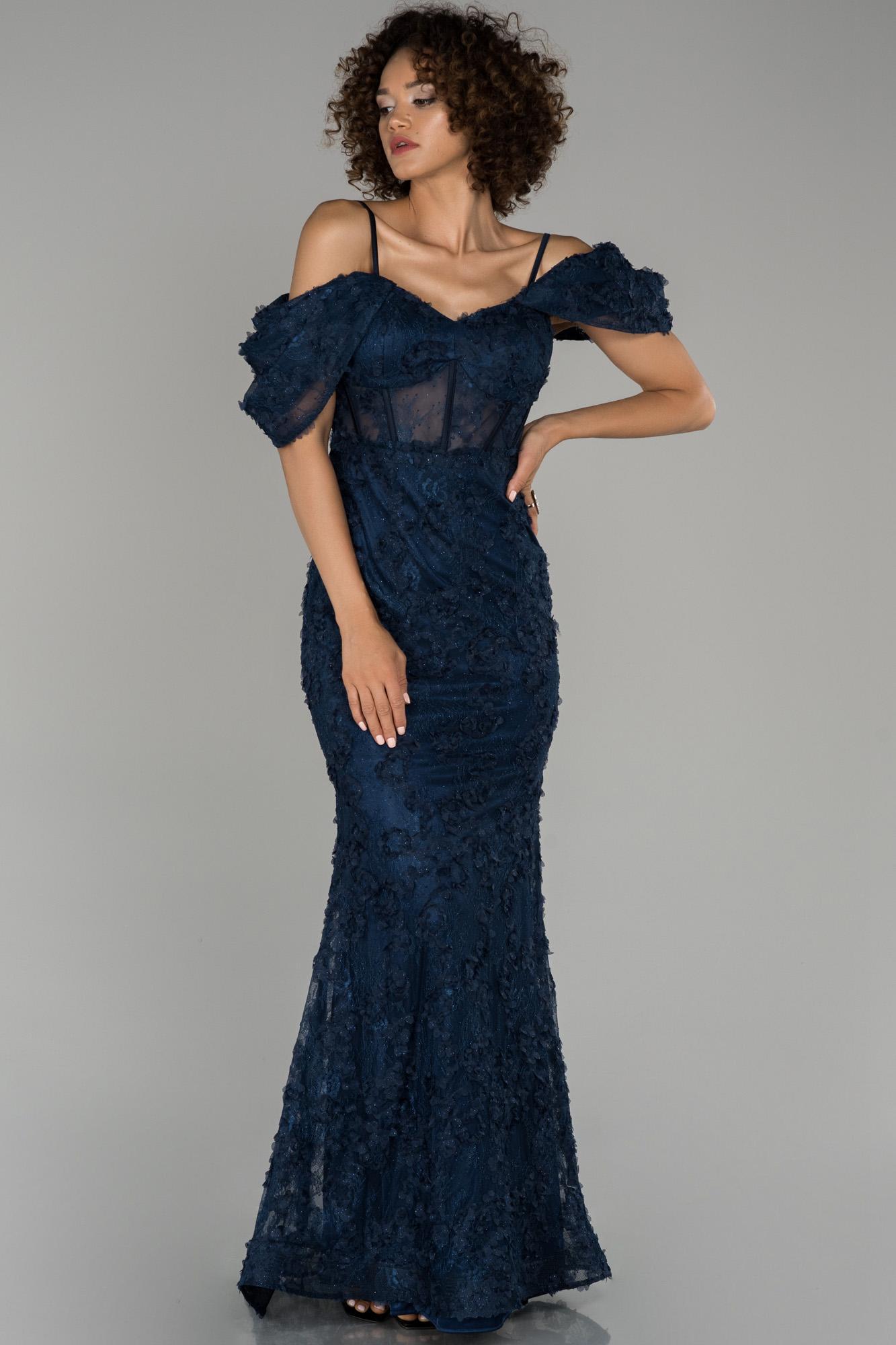 Lacivert Kol Detaylı Balık Abiye Elbise