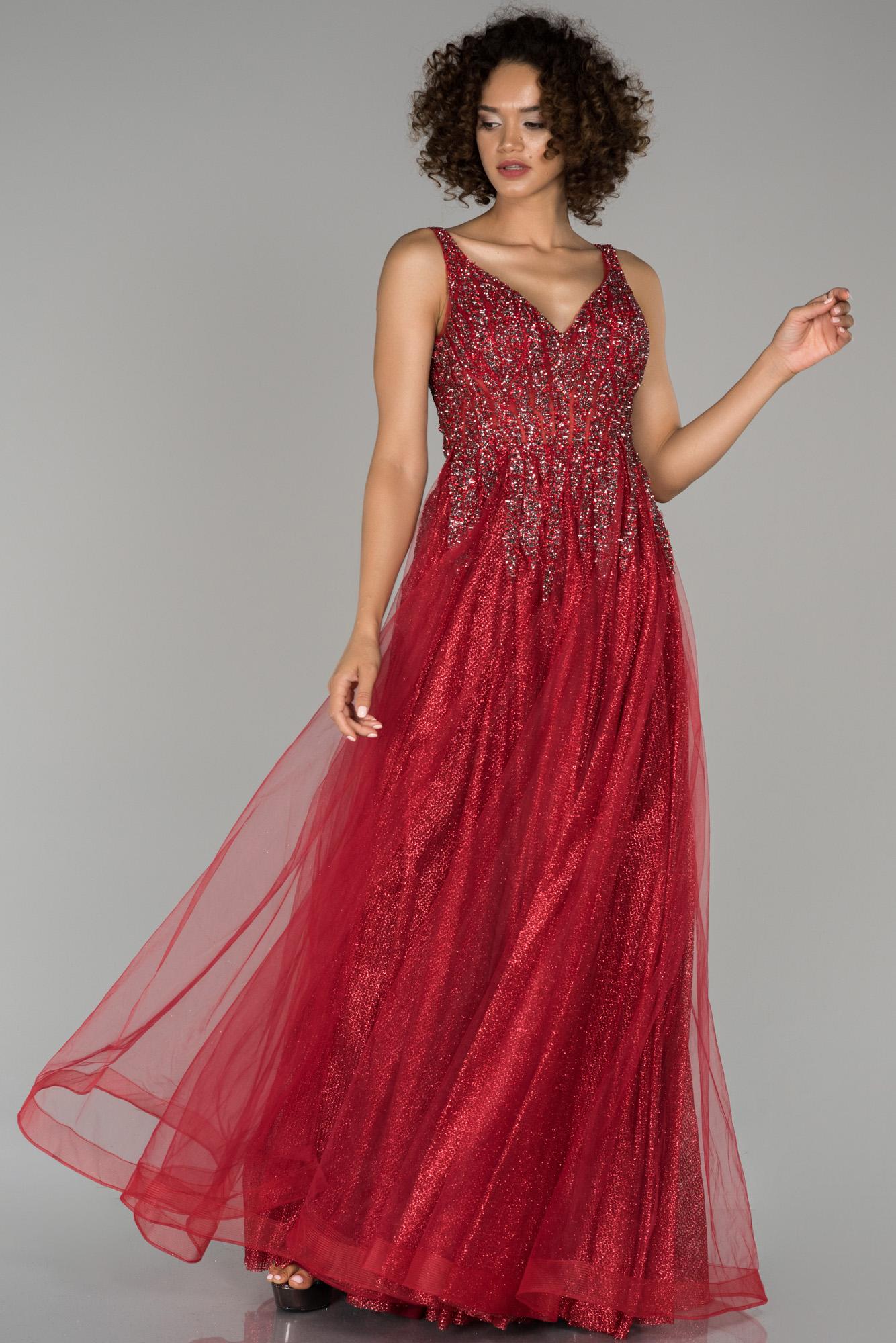Kırmızı Kristal Taş Işlemeli Nişan Elbisesi