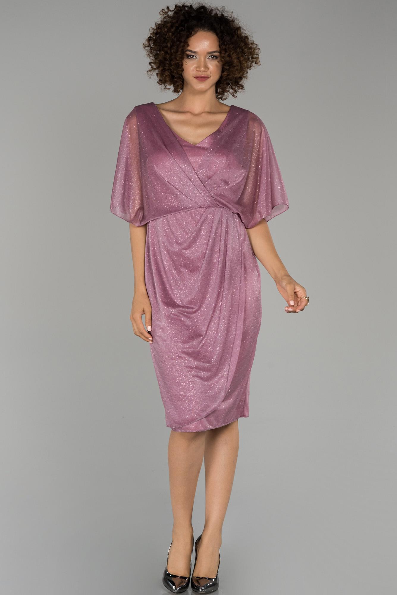 Pudra Kısa Simli Yarım Kol Davet Elbisesi
