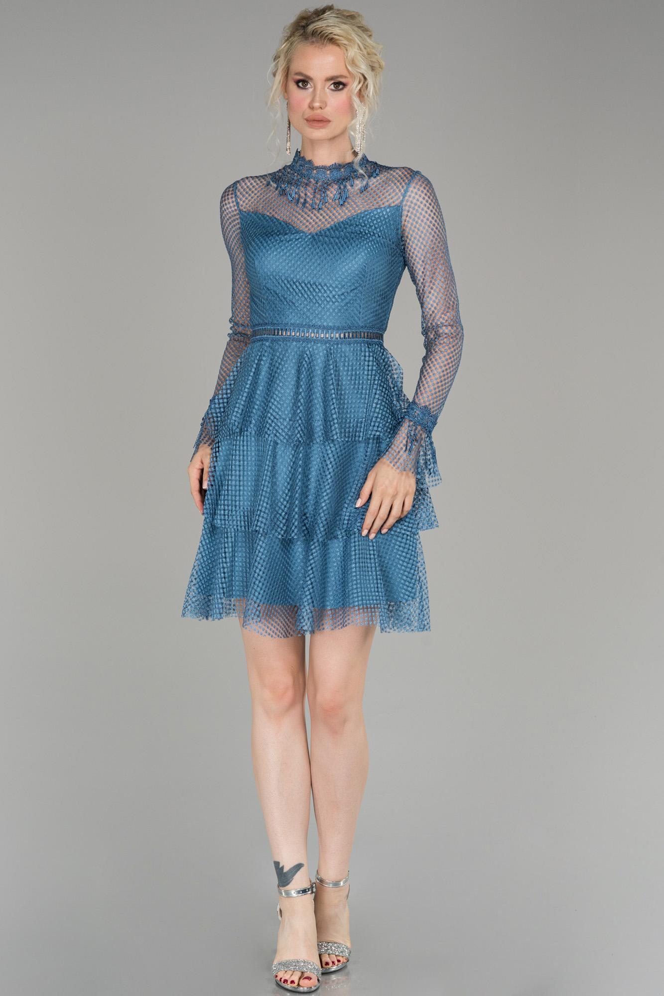 Indigo Kısa Güpürlü Mezuniyet Elbisesi