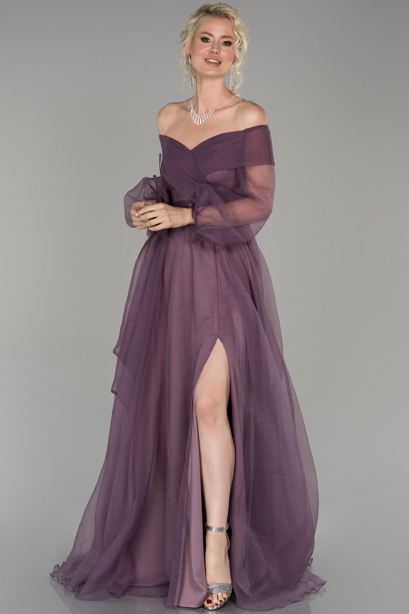 Lavanta Bacak Dekolteli Balon Kol Abiye Elbise