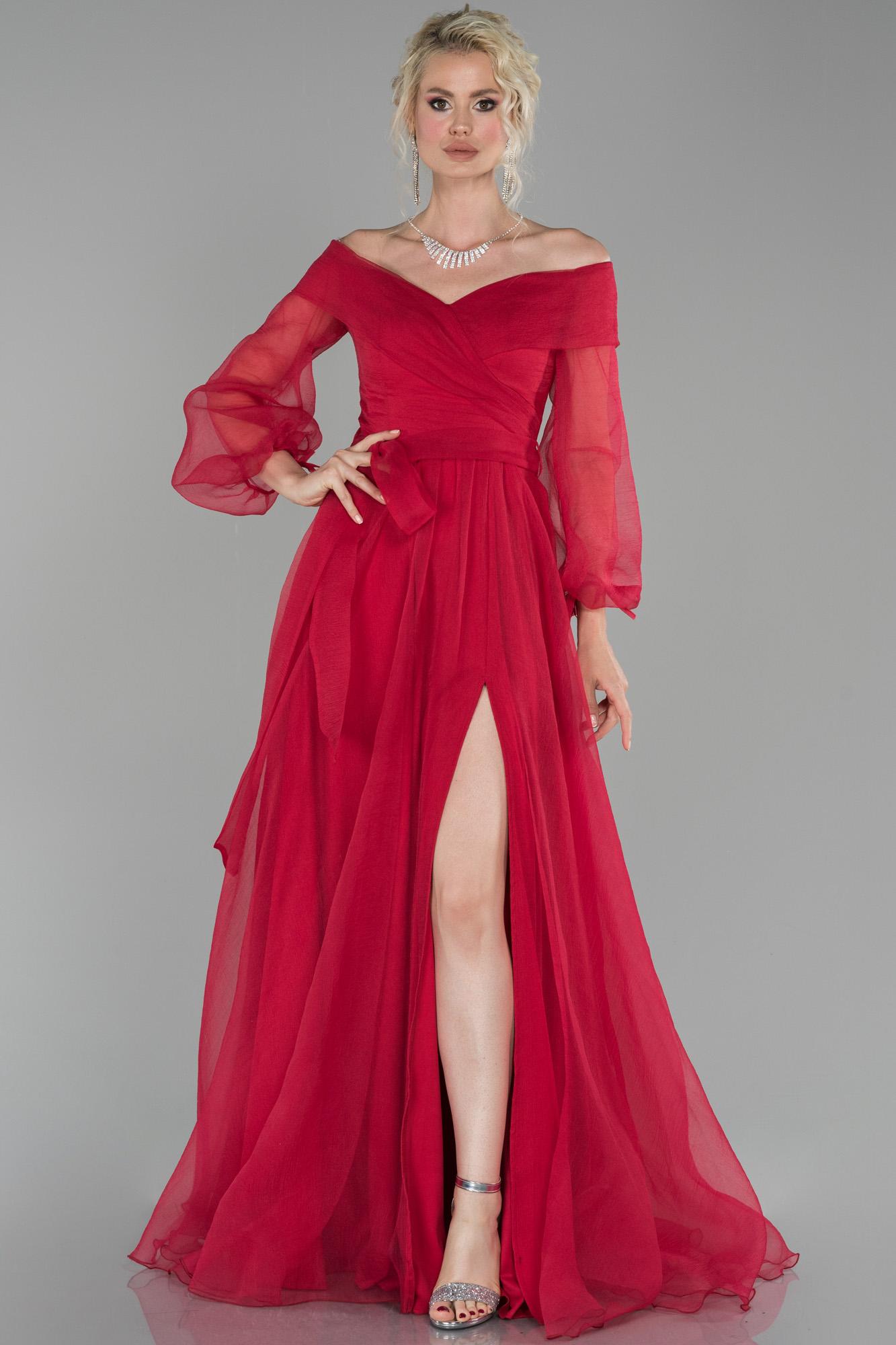 Kırmızı Bacak Dekolteli Balon Kol Abiye Elbise