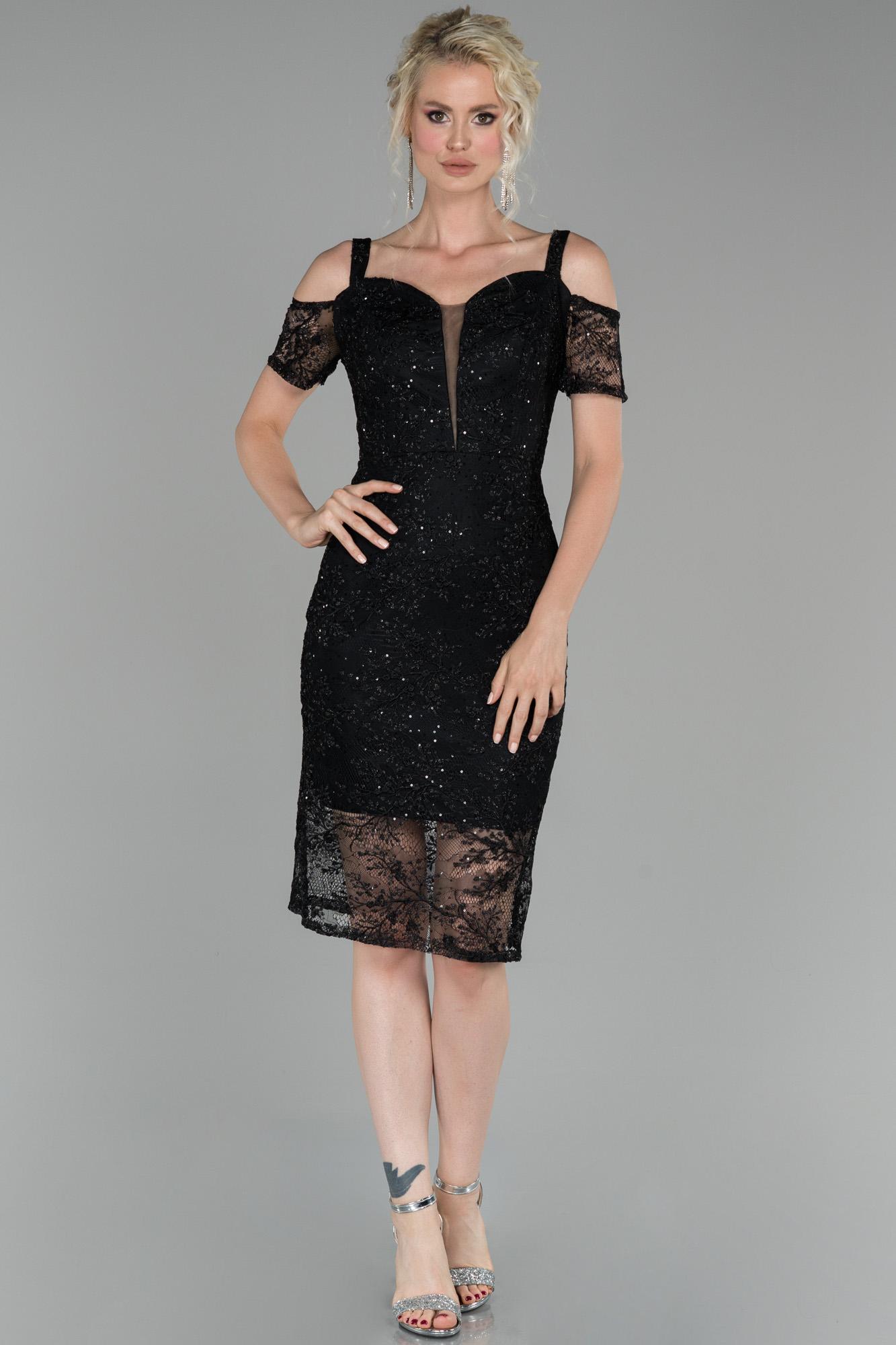 Siyah Kısa Güpürlü Davet Elbisesi
