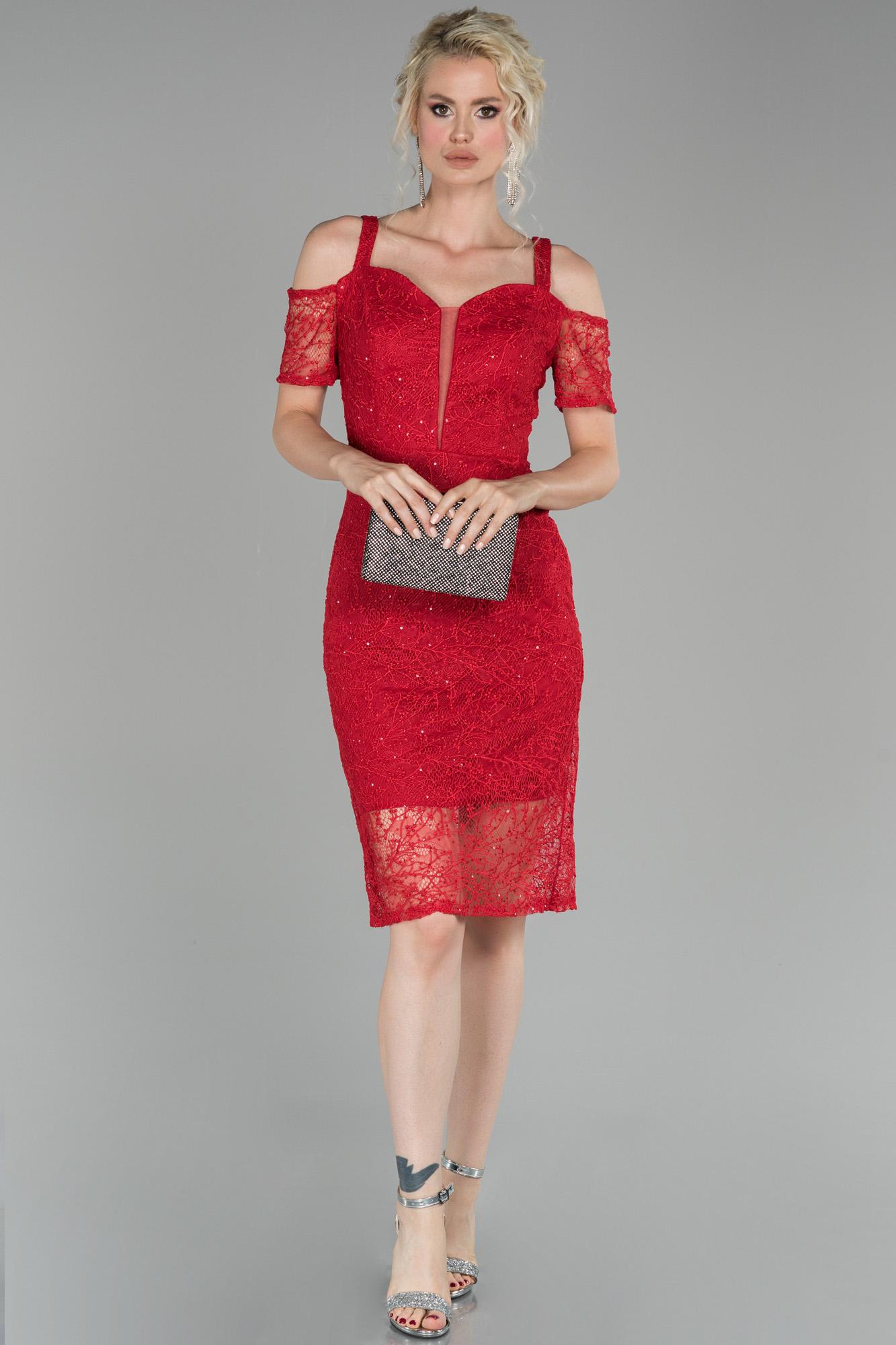 Kırmızı Kısa Güpürlü Davet Elbisesi