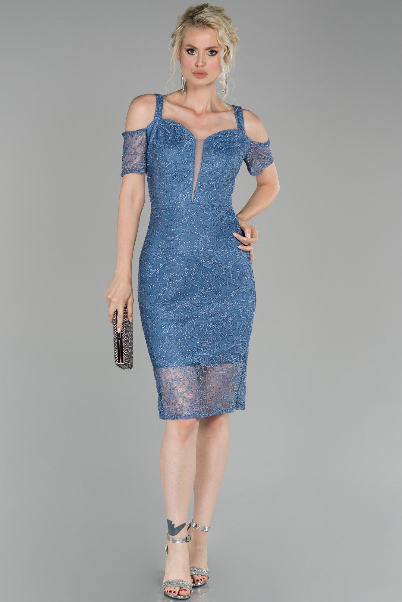 Indigo Kısa Güpürlü Davet Elbisesi
