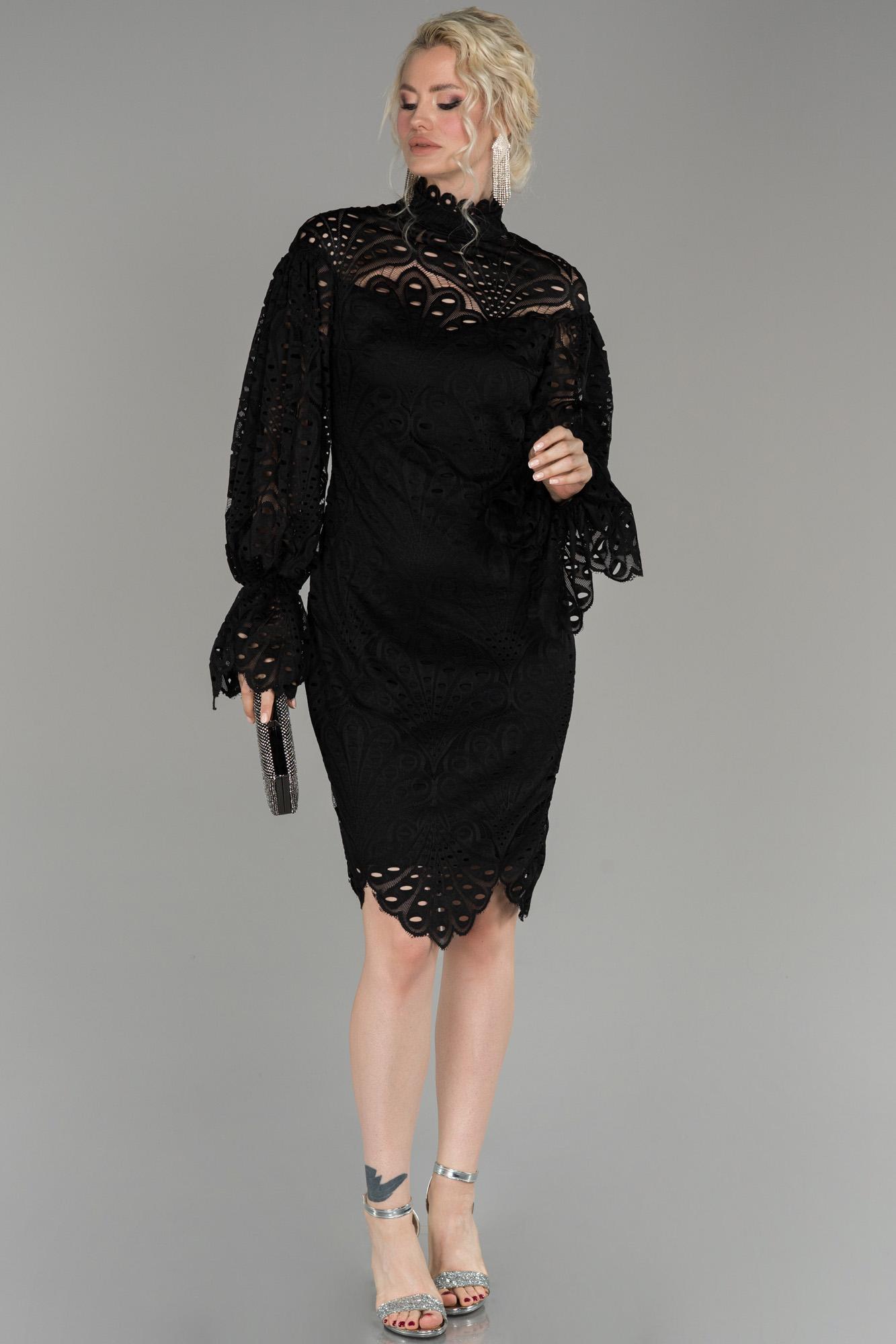 Siyah Kısa Güpürlü Büyük Beden Davet Elbisesi