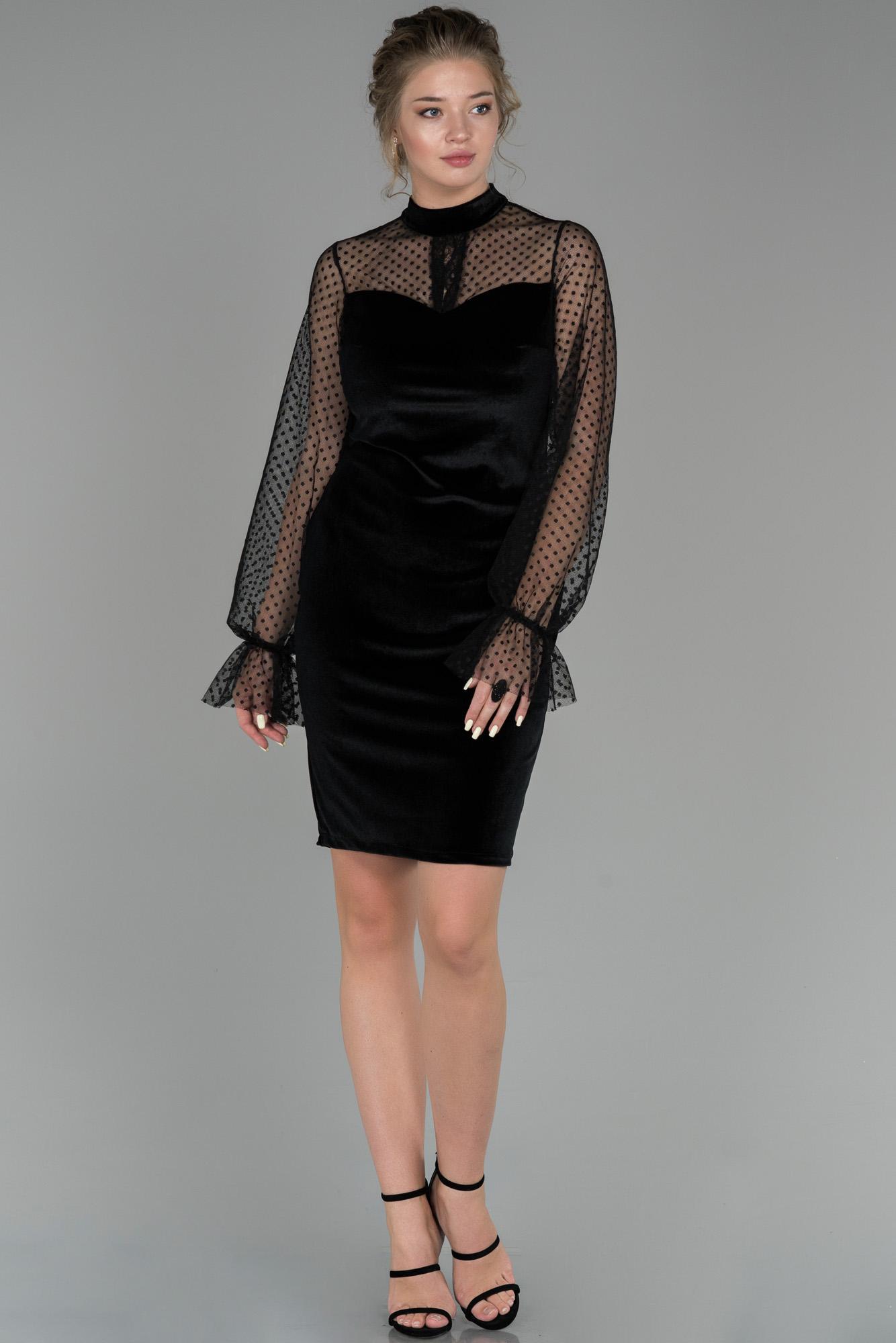 Siyah Transparan Kol Kadife Abiye Elbise