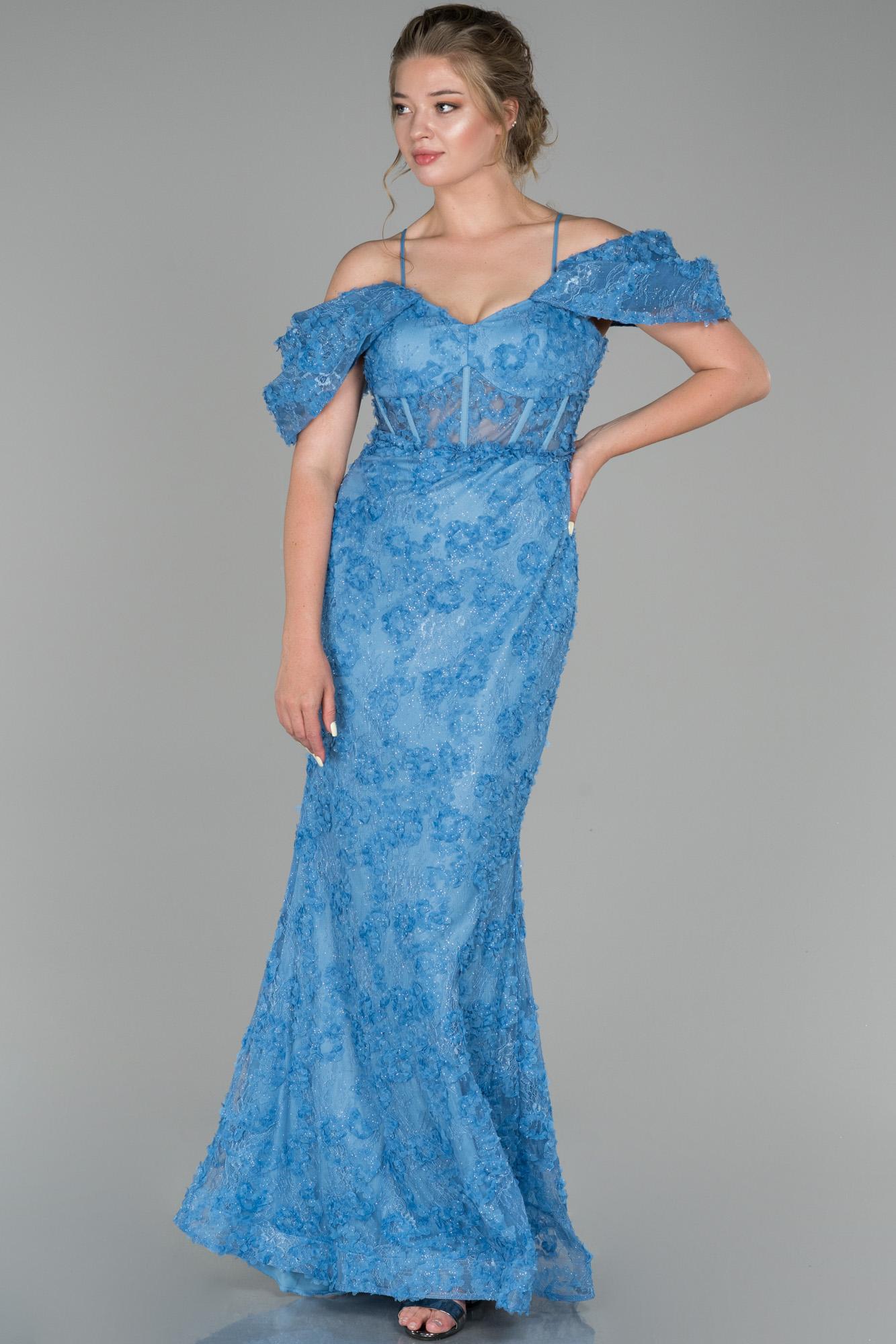 Indigo Kol Detaylı Balık Abiye Elbise