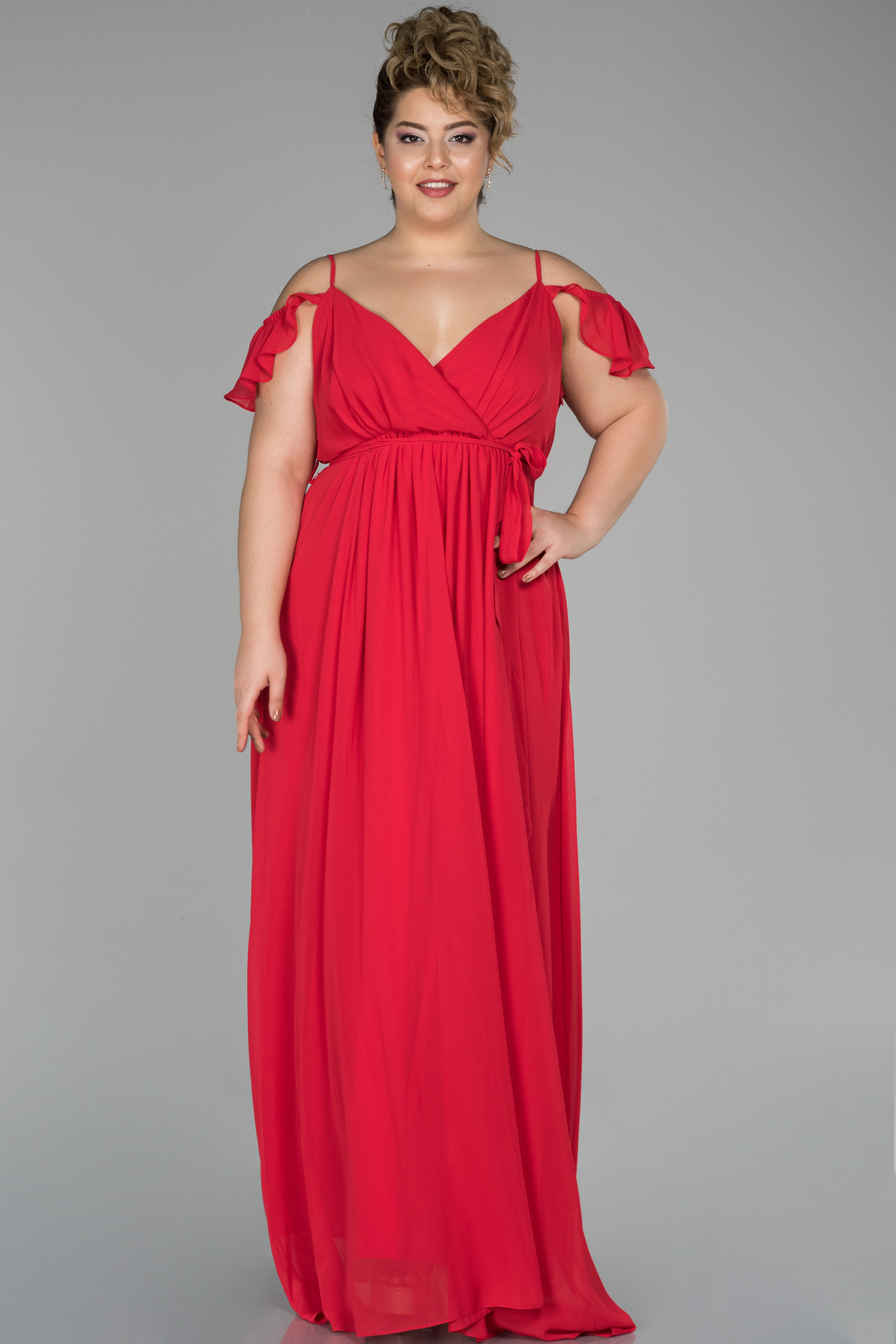 Kırmızı Uzun Kolları Volanlı Büyük Beden Hamile Abiye Elbise