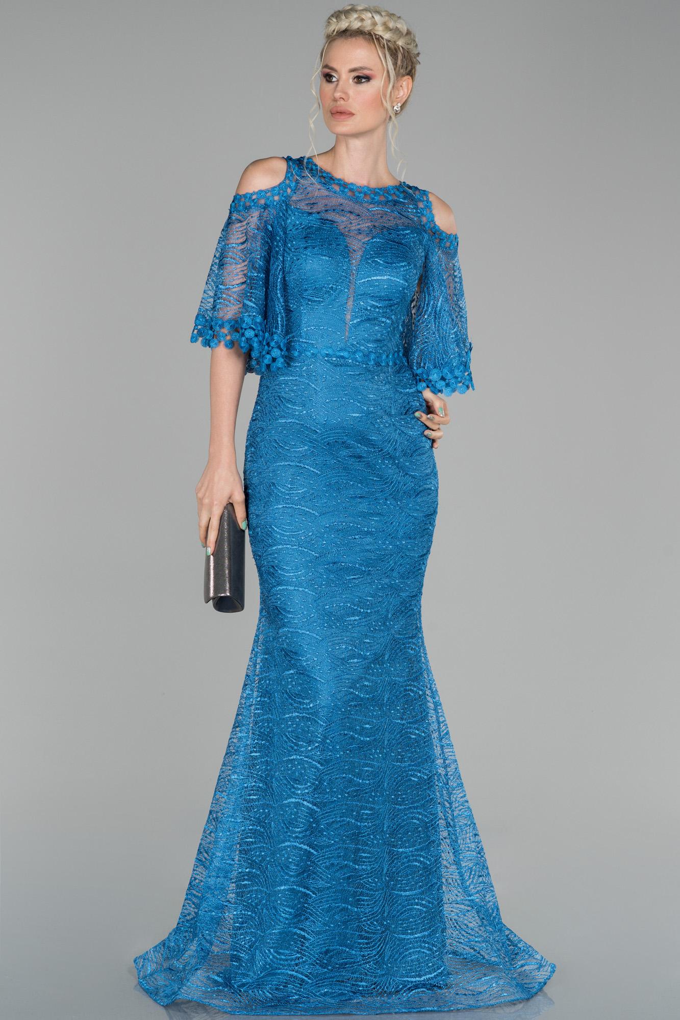 Indigo Uzun Kol Detaylı Güpür Abiye Elbise