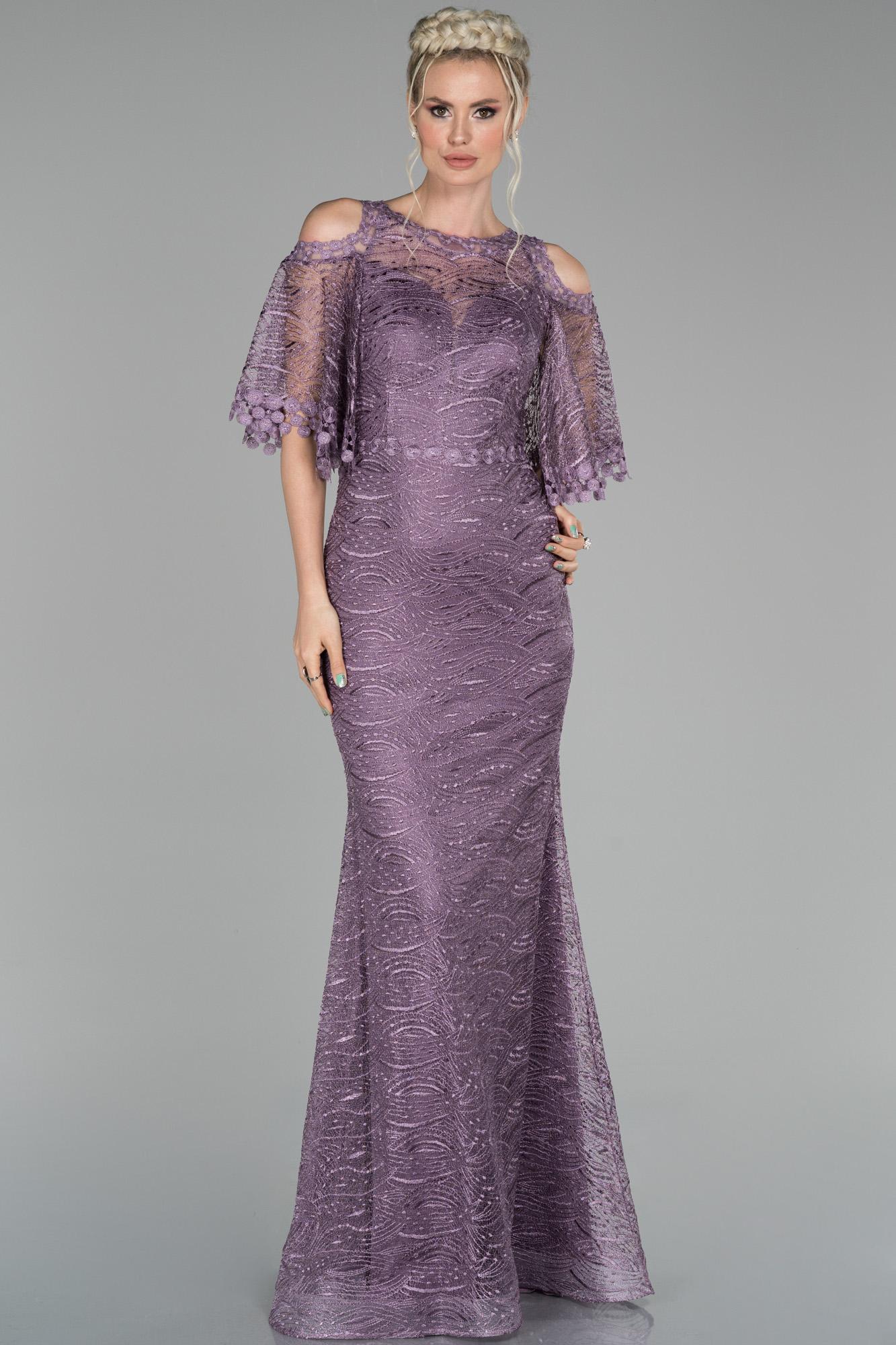 Lavanta Uzun Kol Detaylı Güpür Abiye Elbise
