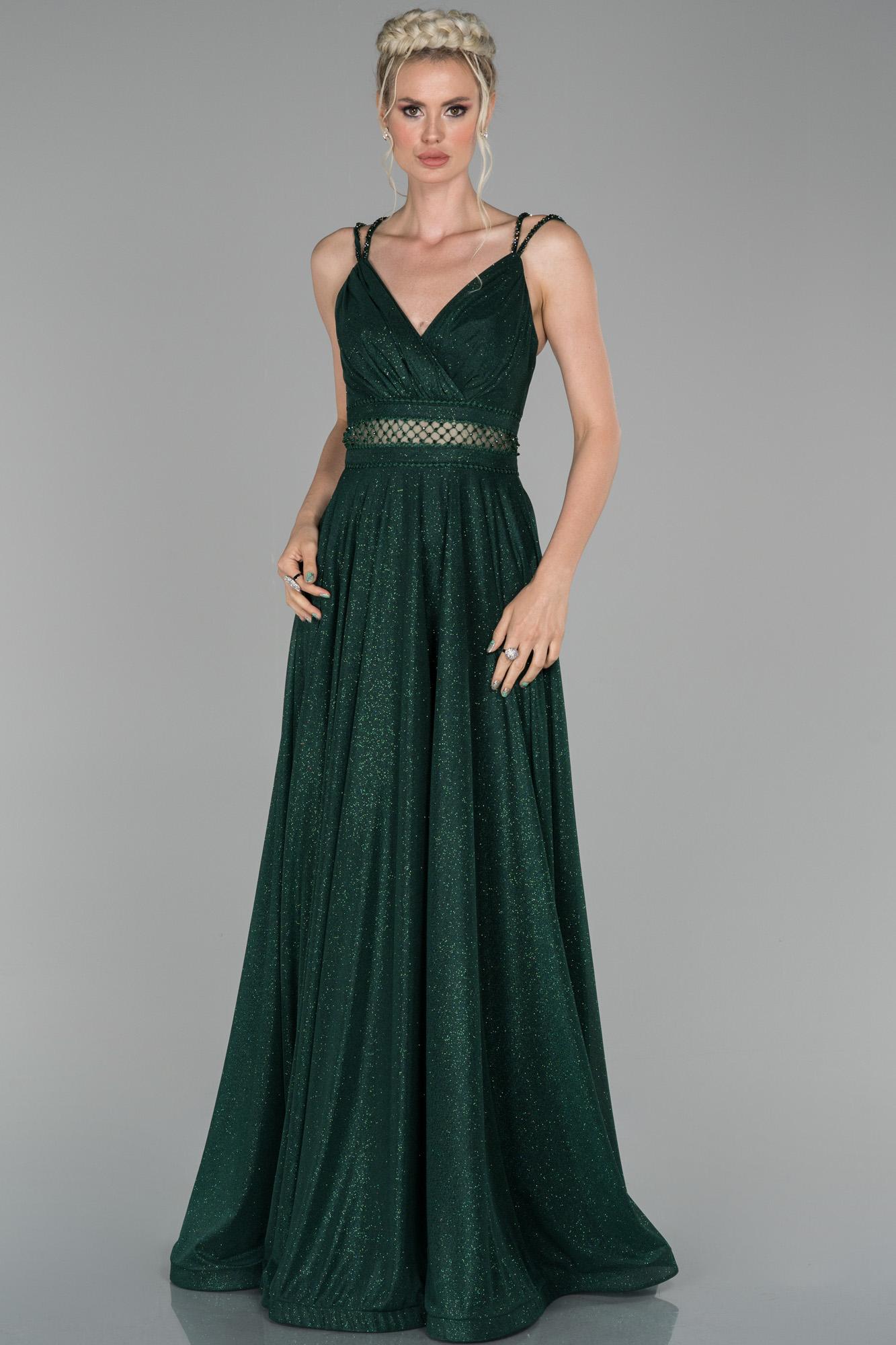 Zümrüt Yeşili Uzun Kruvaze Yaka Ip Askılı Abiye Elbise