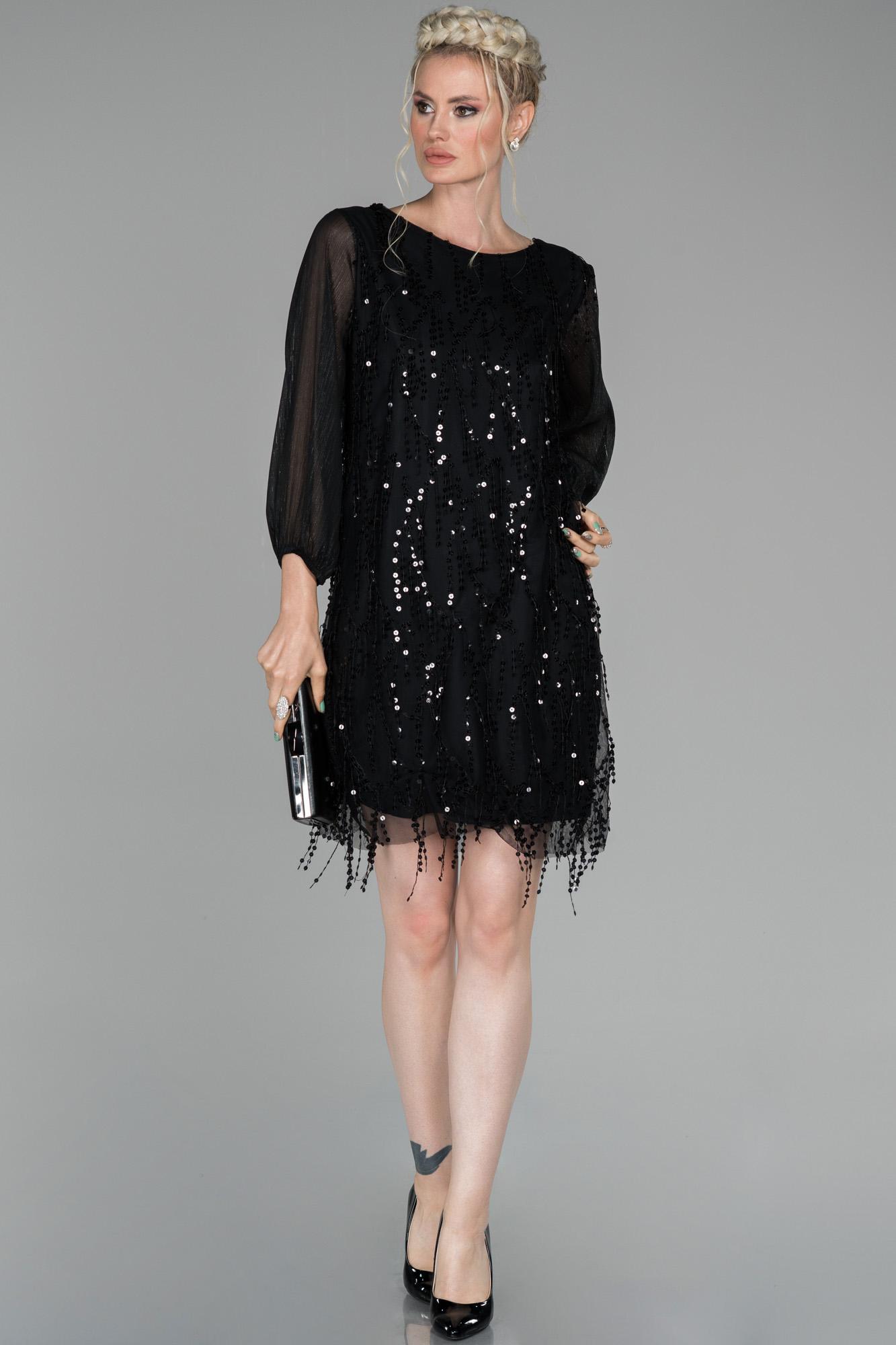 Siyah Mini Pul Payet Işlemeli Davet Elbisesi