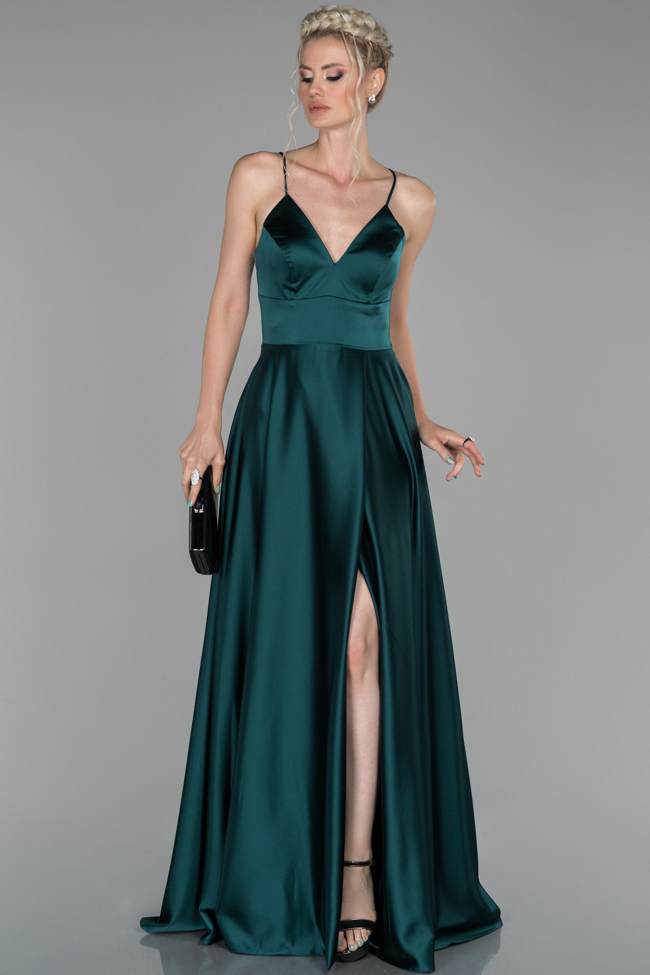Zümrüt Yeşili Uzun Bacak Ve Sırt Dekolteli Abiye Elbise