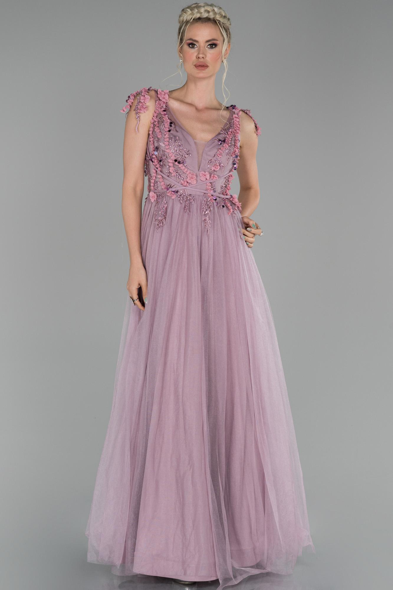Lila Uzun Boncuk Işlemeli Kol Detaylı Abiye Elbise