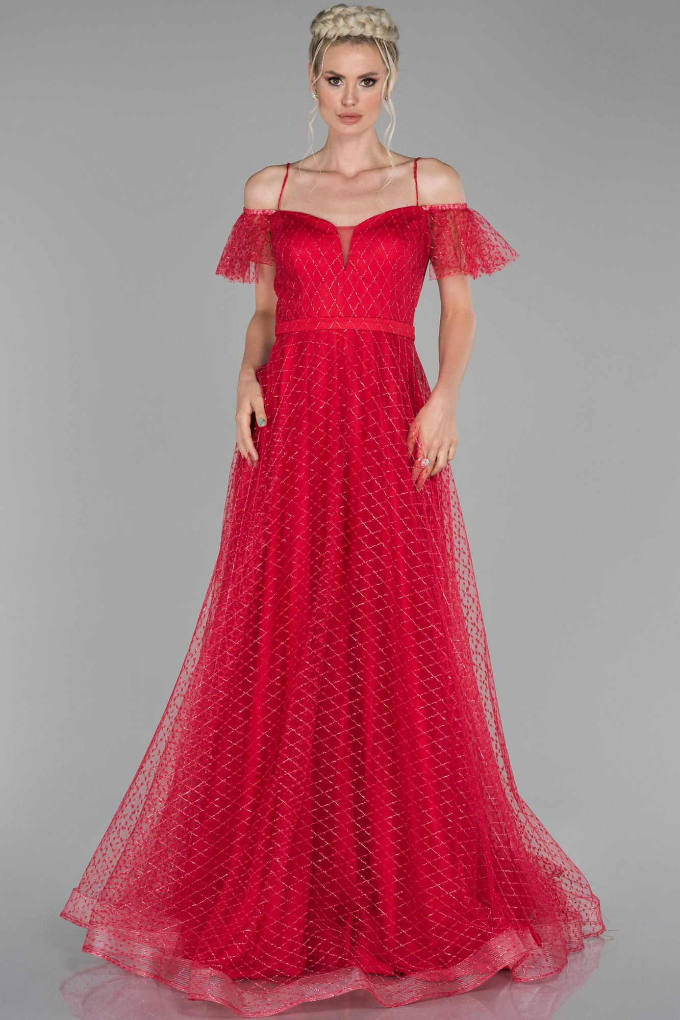 Kırmızı Uzun Ip Askılı Simli Abiye Elbise