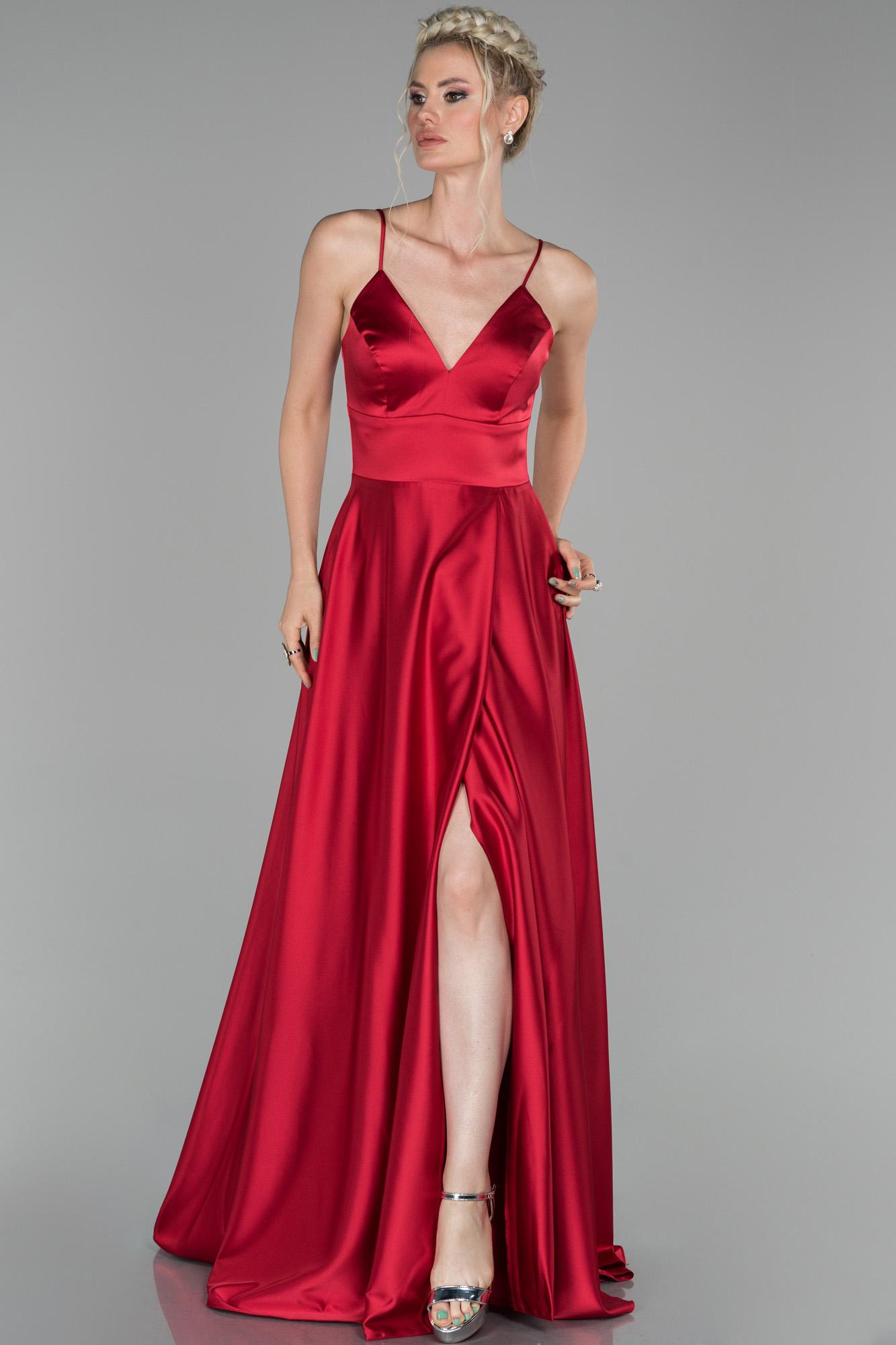 Kırmızı Uzun Bacak Ve Sırt Dekolteli Abiye Elbise