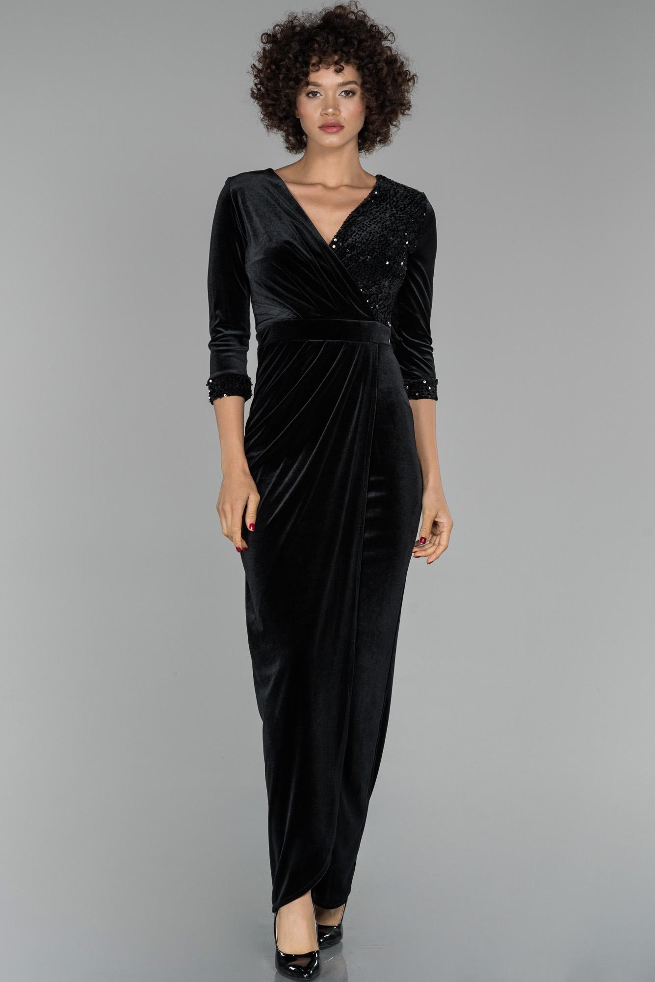 Siyah Kruvaze Yaka Kapri Kol Payetli Kadife Abiye Elbise