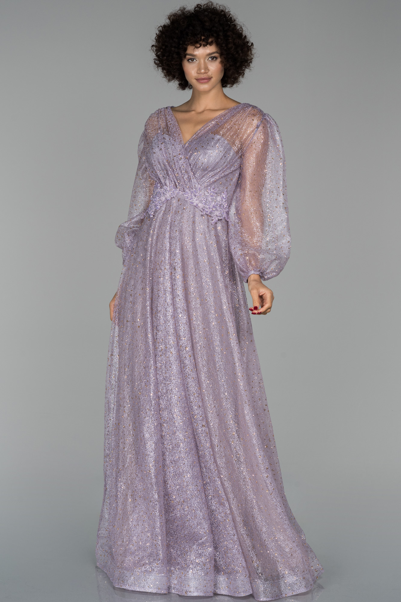 Lavanta Uzun Kruvaze Yaka Balon Kol Sim Detaylı Abiye Elbise