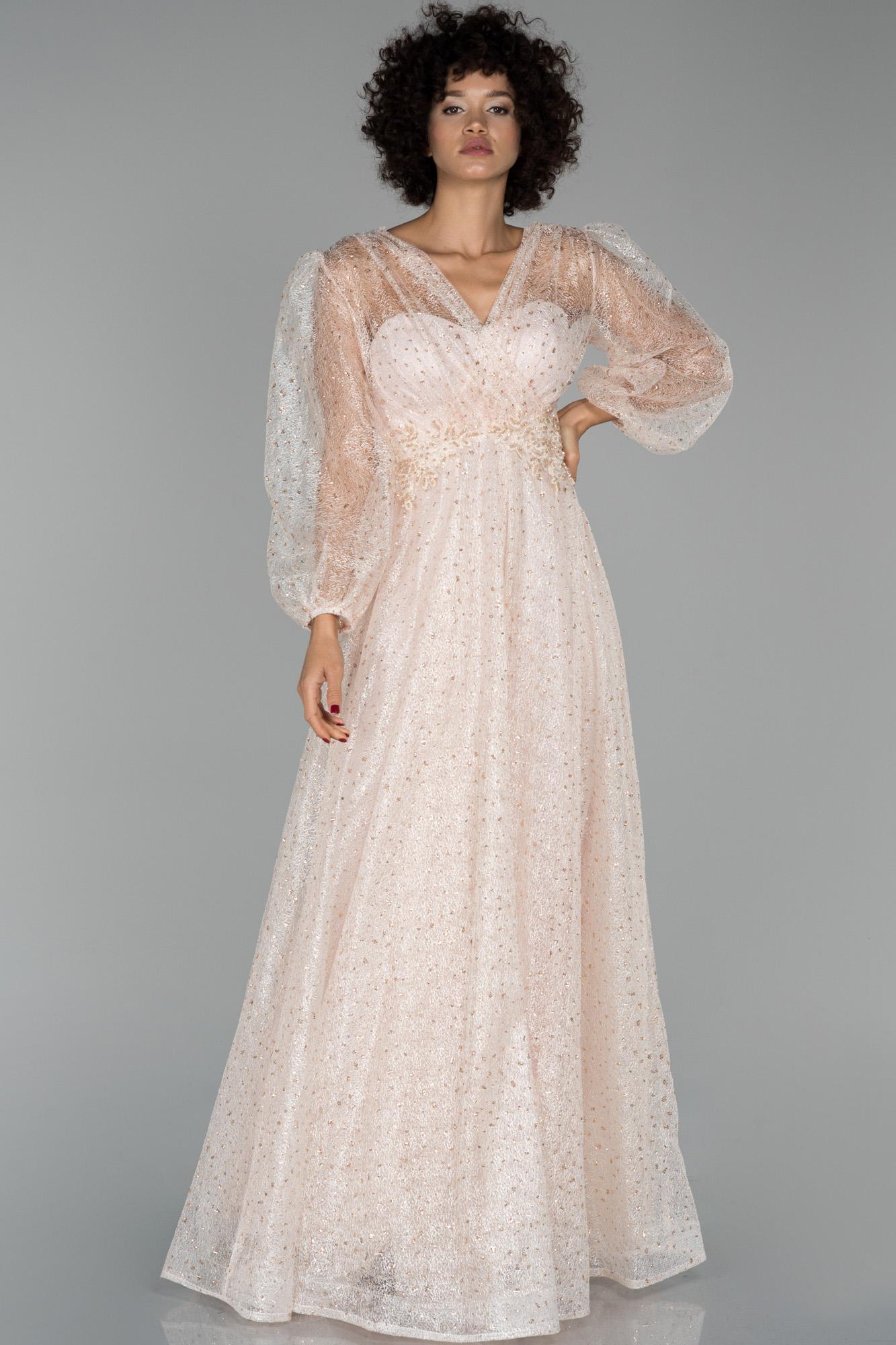 Somon Uzun Kruvaze Yaka Balon Kol Sim Detaylı Abiye Elbise