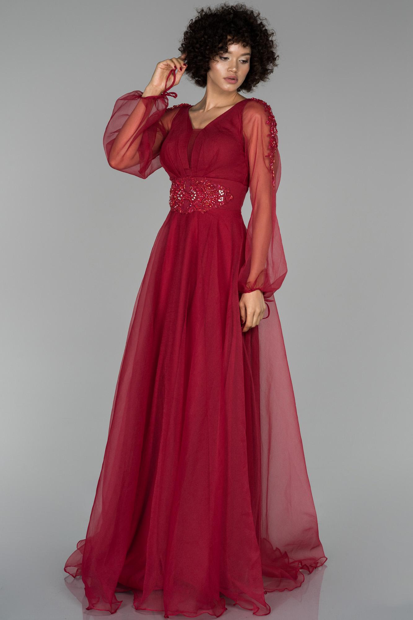 Kırmızı Uzun Balon Kol Işleme Detaylı Abiye Elbise