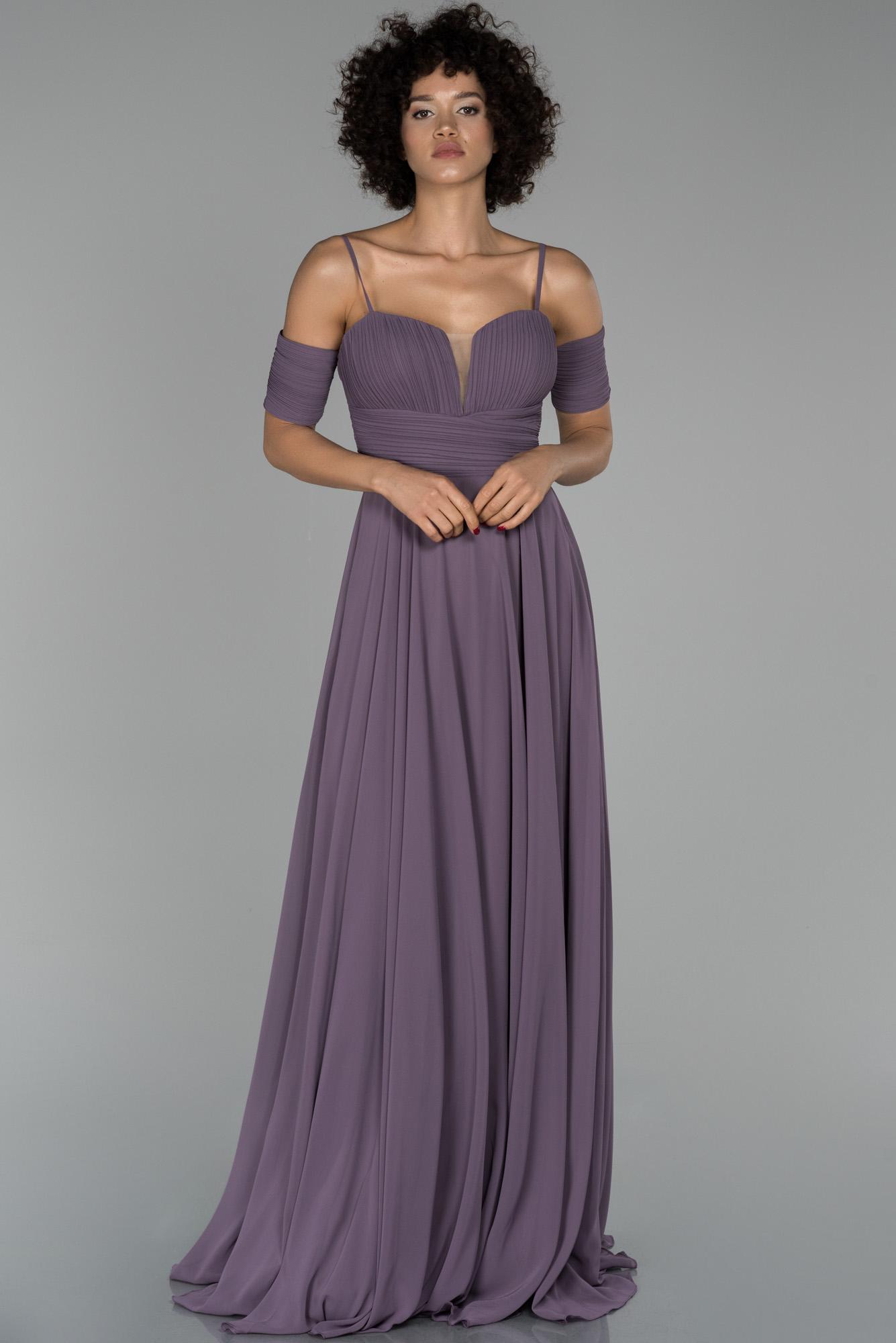 Lavanta Uzun Kol Detaylı Şifon Abiye Elbise