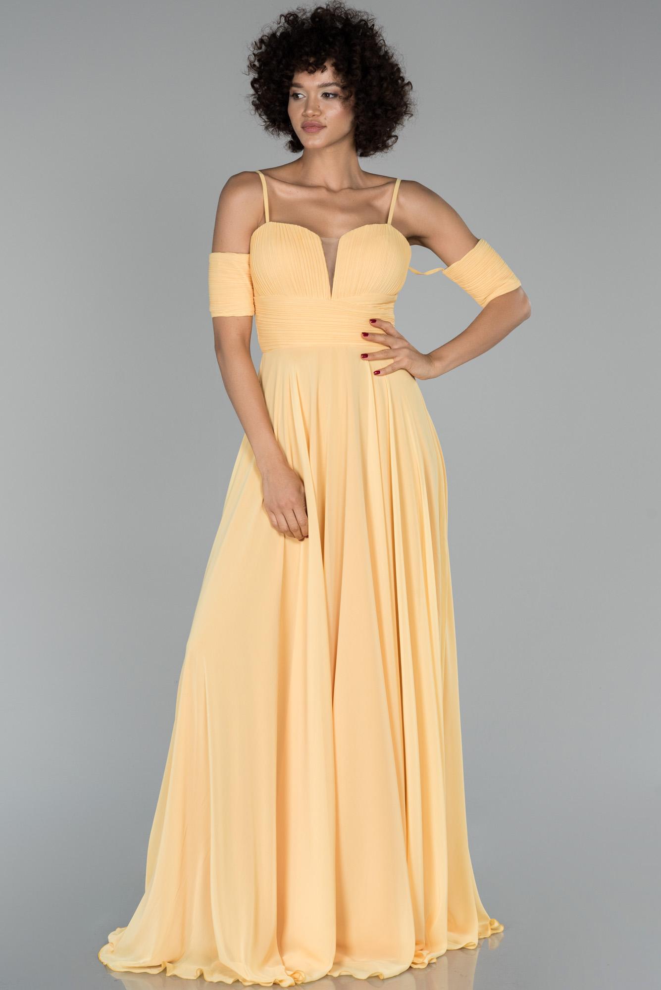 Sarı Uzun Kol Detaylı Şifon Abiye Elbise