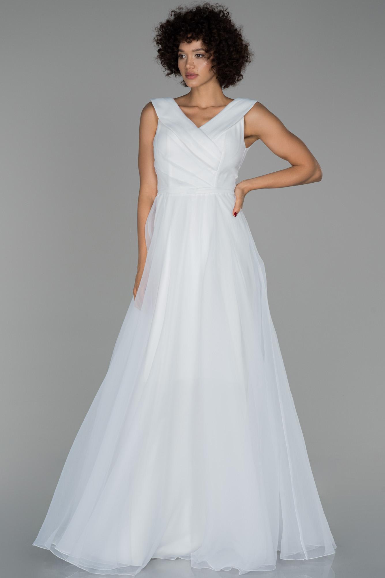 Ekru Uzun V Yaka Prenses Abiye Elbise