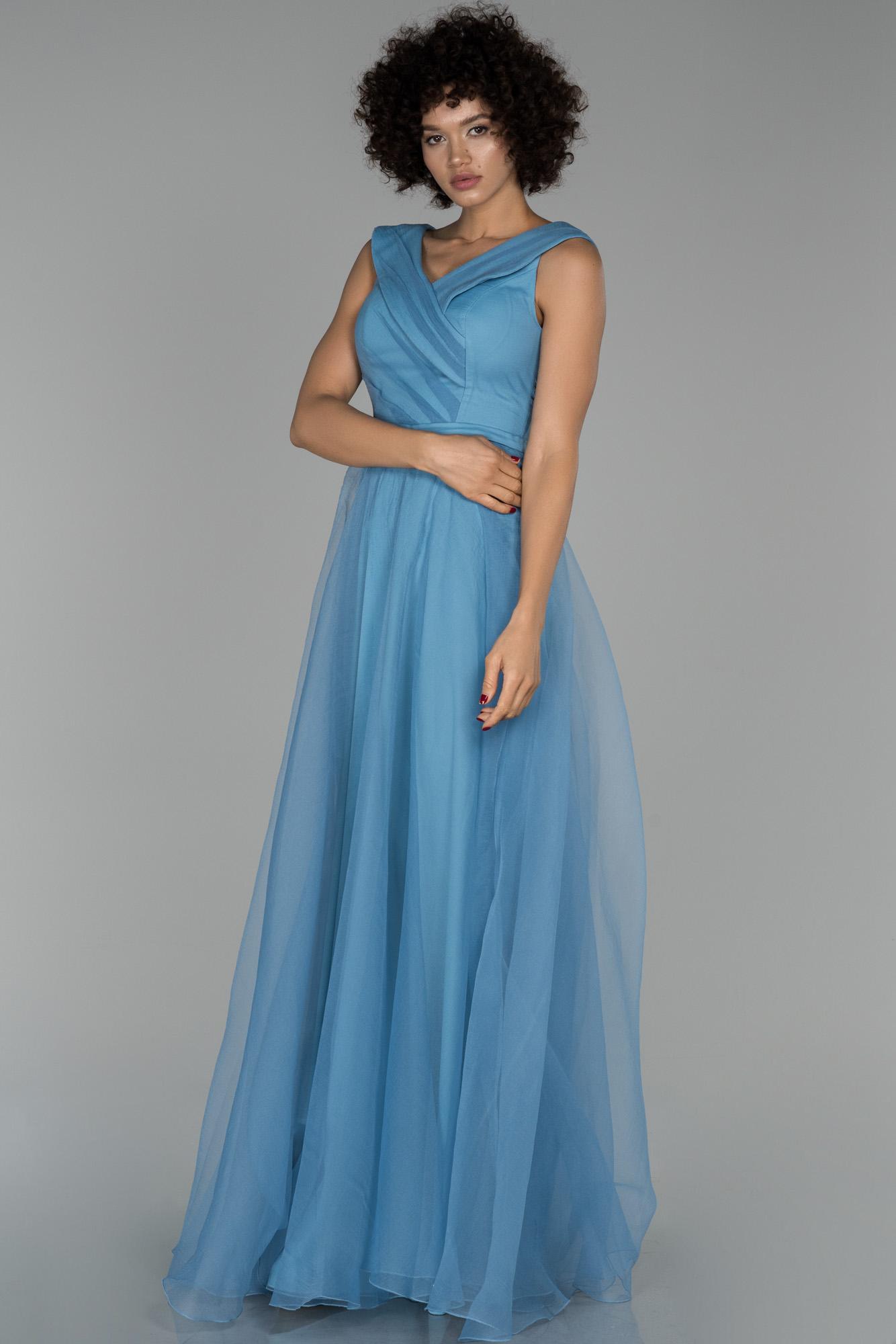 Indigo Uzun V Yaka Prenses Abiye Elbise