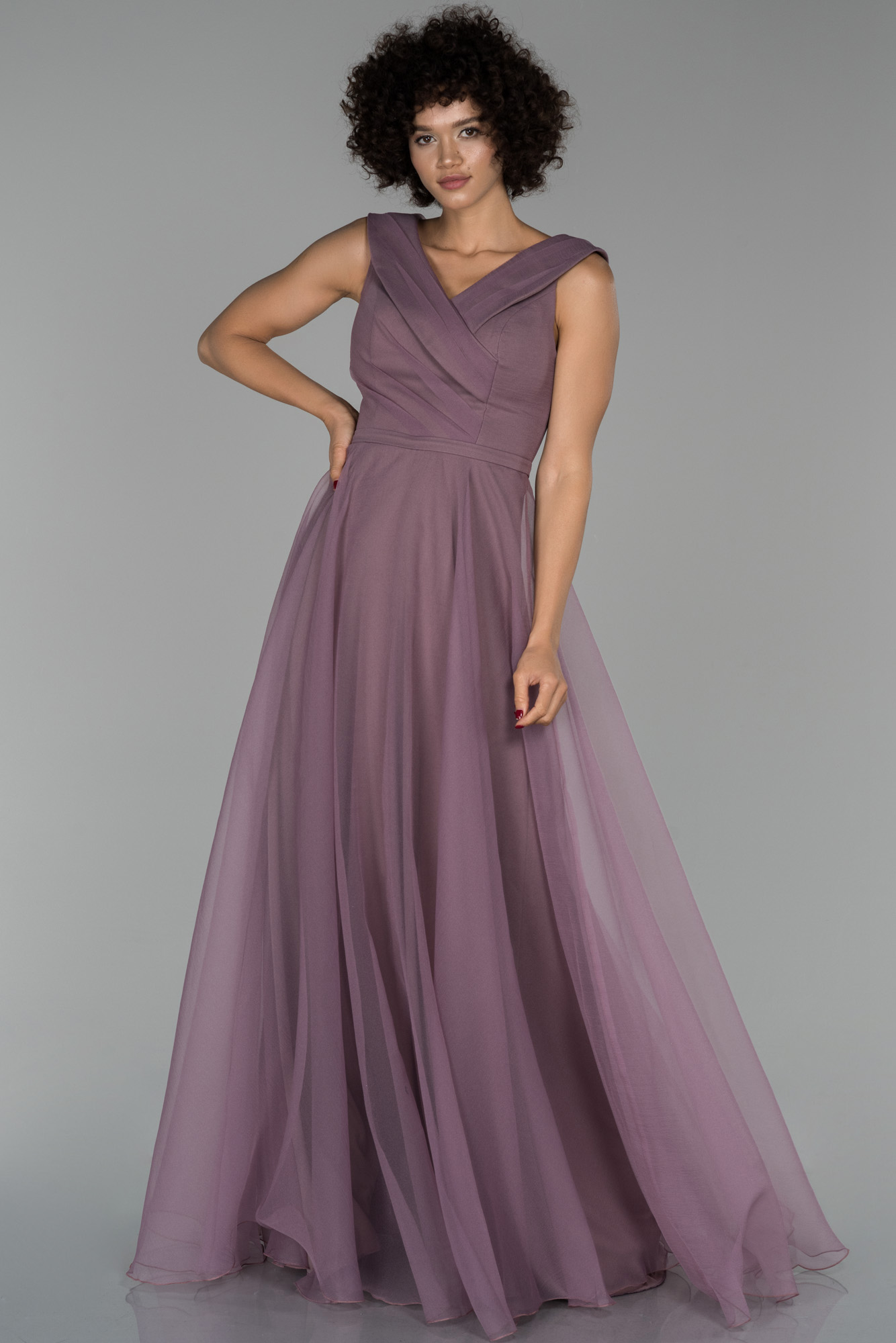 Lavanta Uzun V Yaka Prenses Abiye Elbise