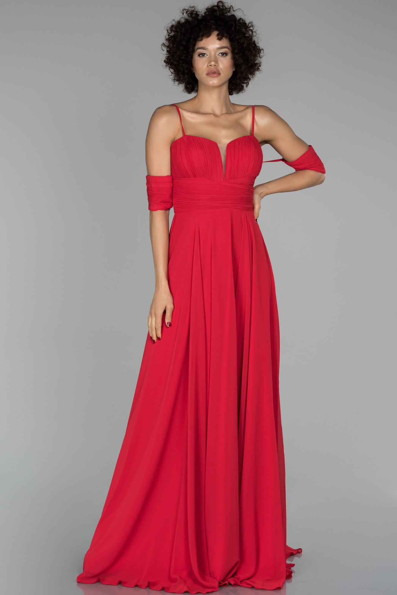 Kırmızı Uzun Kol Detaylı Şifon Abiye Elbise