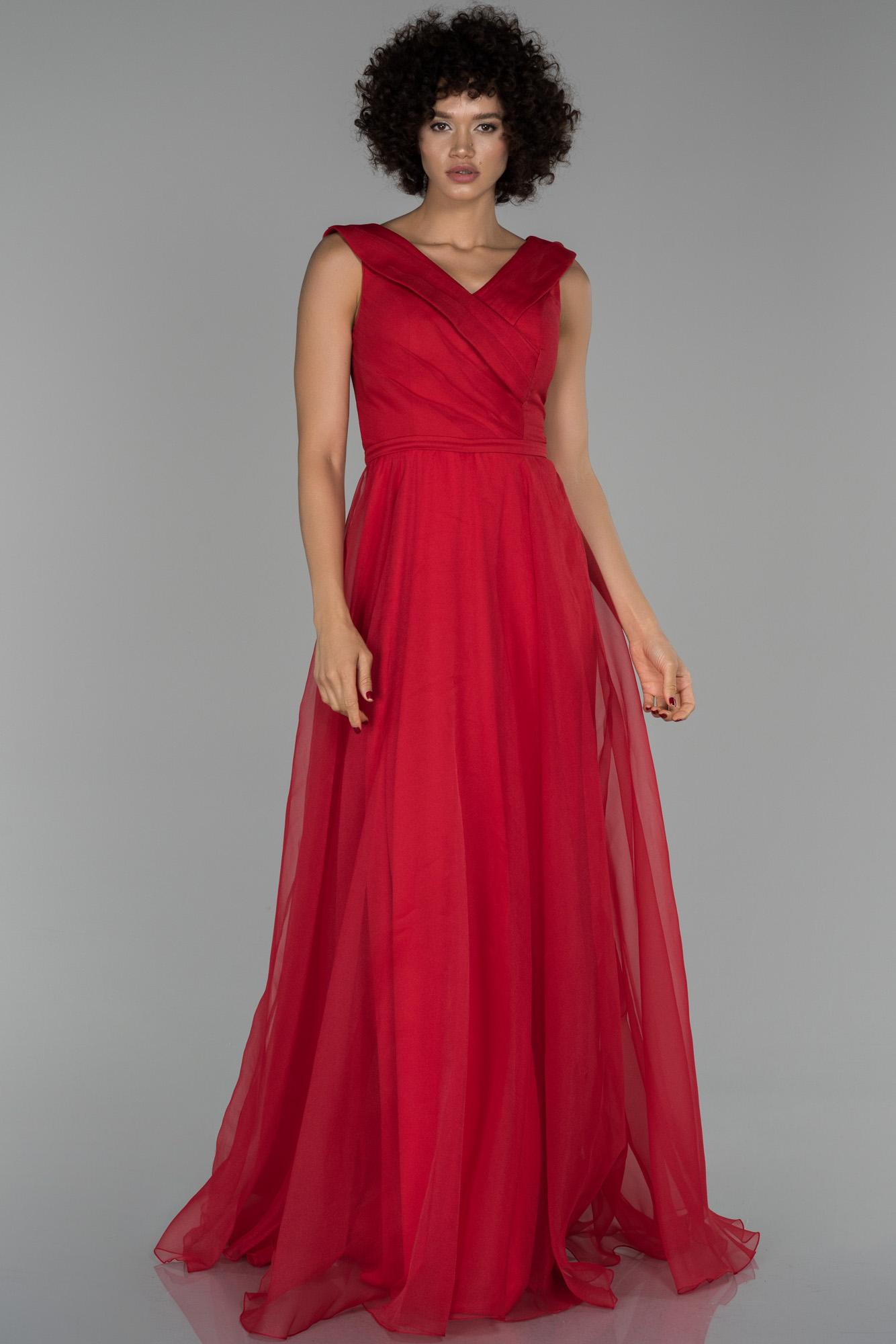 Kırmızı Uzun V Yaka Prenses Abiye Elbise