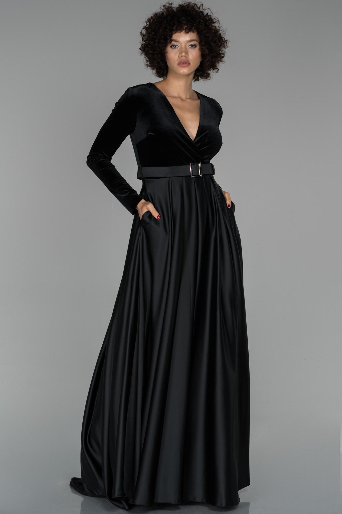 Siyah Uzun Kol V Yaka Kadife Abiye Elbise