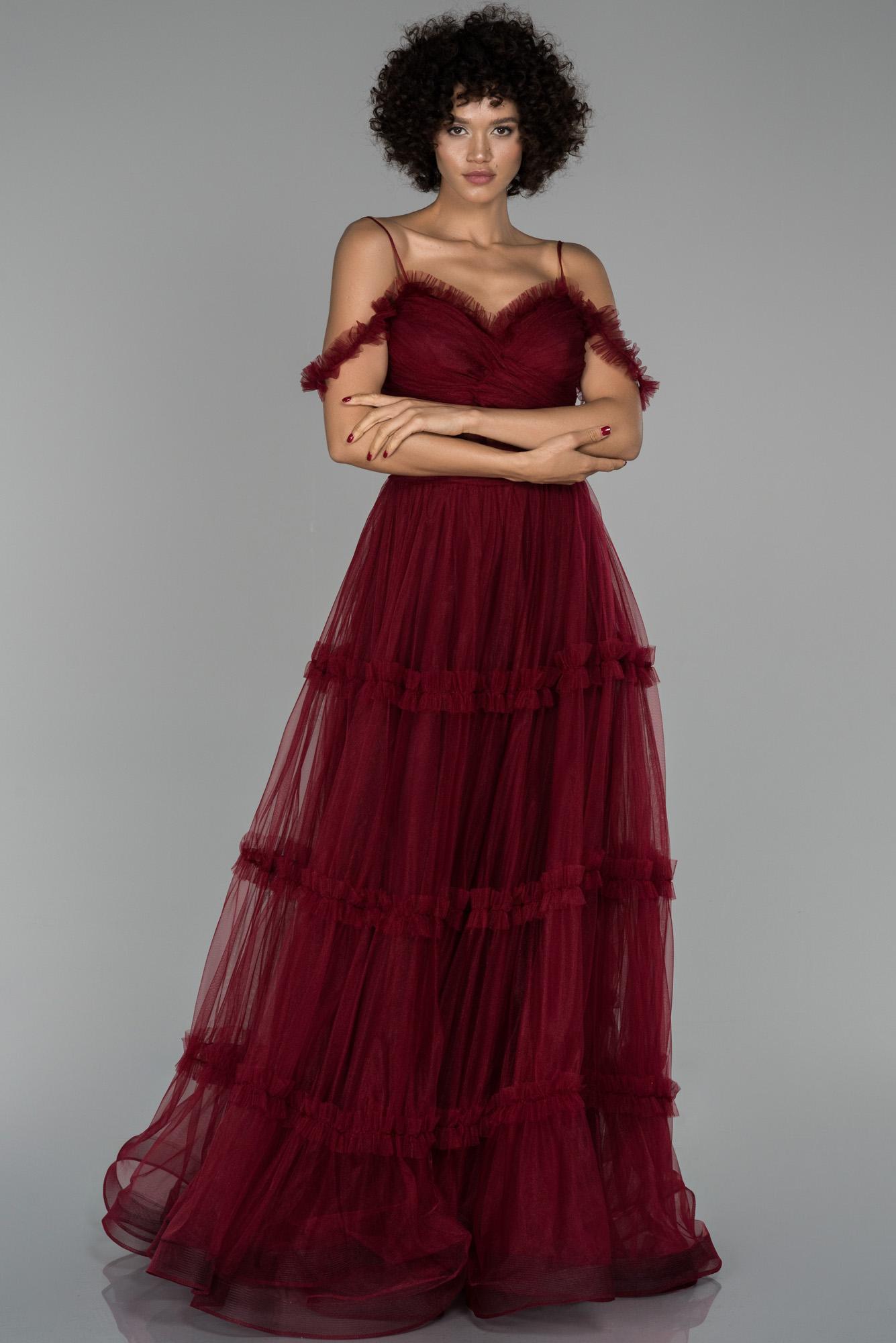 Bordo Uzun Transparan Kol Detaylı Abiye Elbise